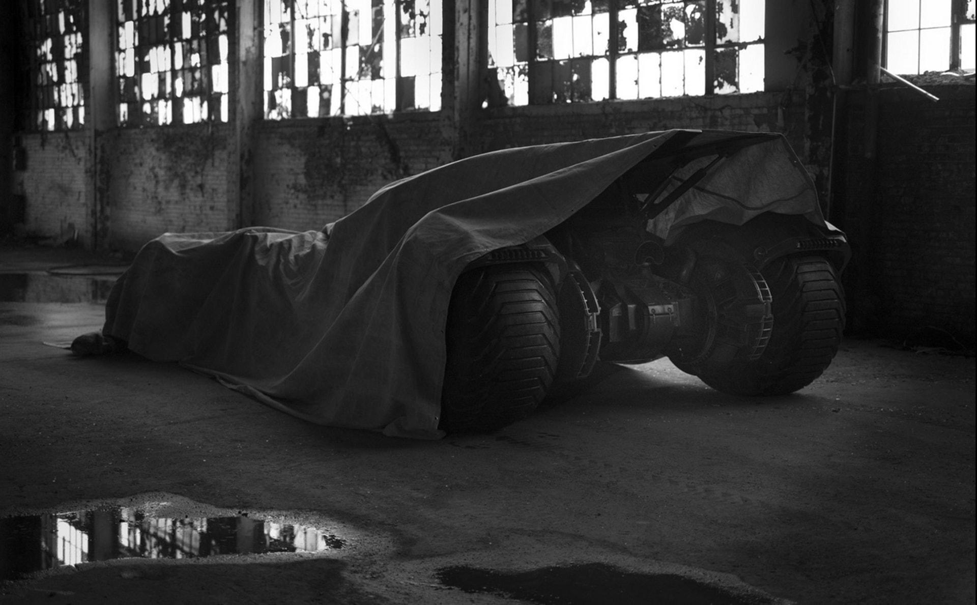 Batmobile in black and white