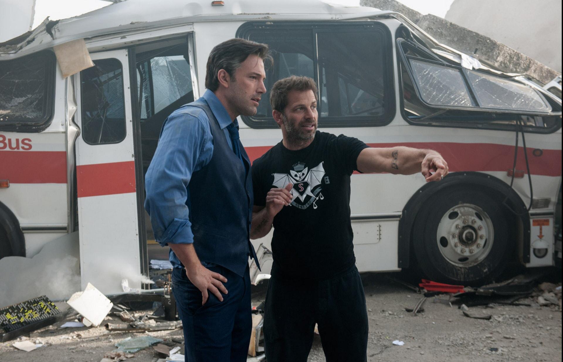"Ben Affleck and director Zack Snyder behind the scenes in Warner Bros. Pictures' action adventure ""BATMAN v SUPERMAN: DAWN OF JUSTICE,"" a Warner Bros. Pictures release."