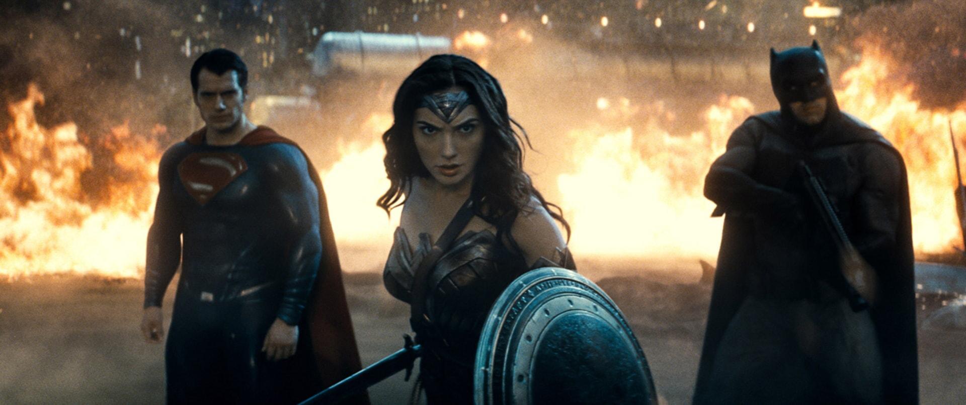 HENRY CAVILL as Superman, GAL GADOT as Wonder Woman and BEN AFFLECK as Batman
