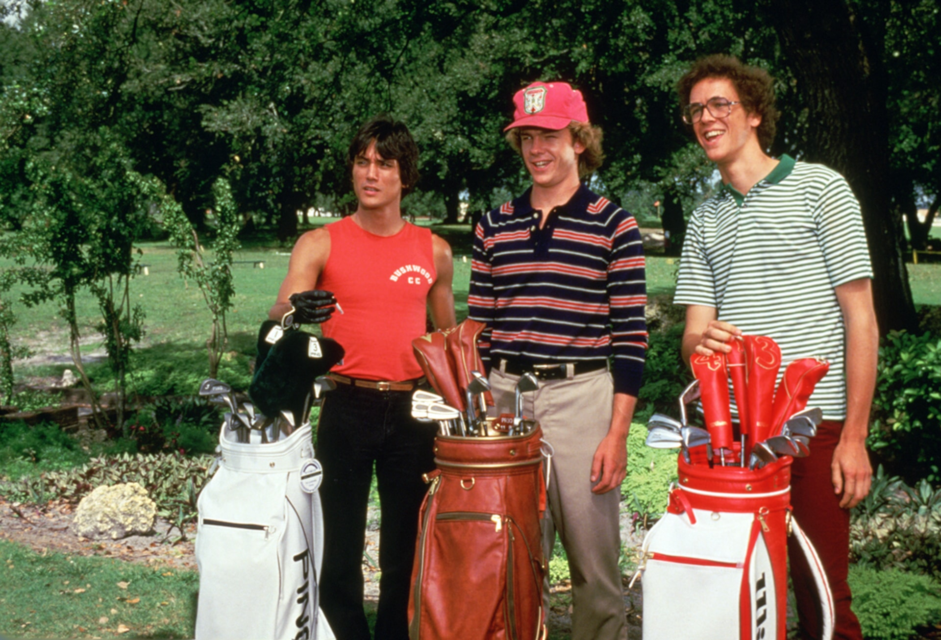 Scott Colomby as tony d'annunizo and michael o'keefe as the top caddies in caddyshack
