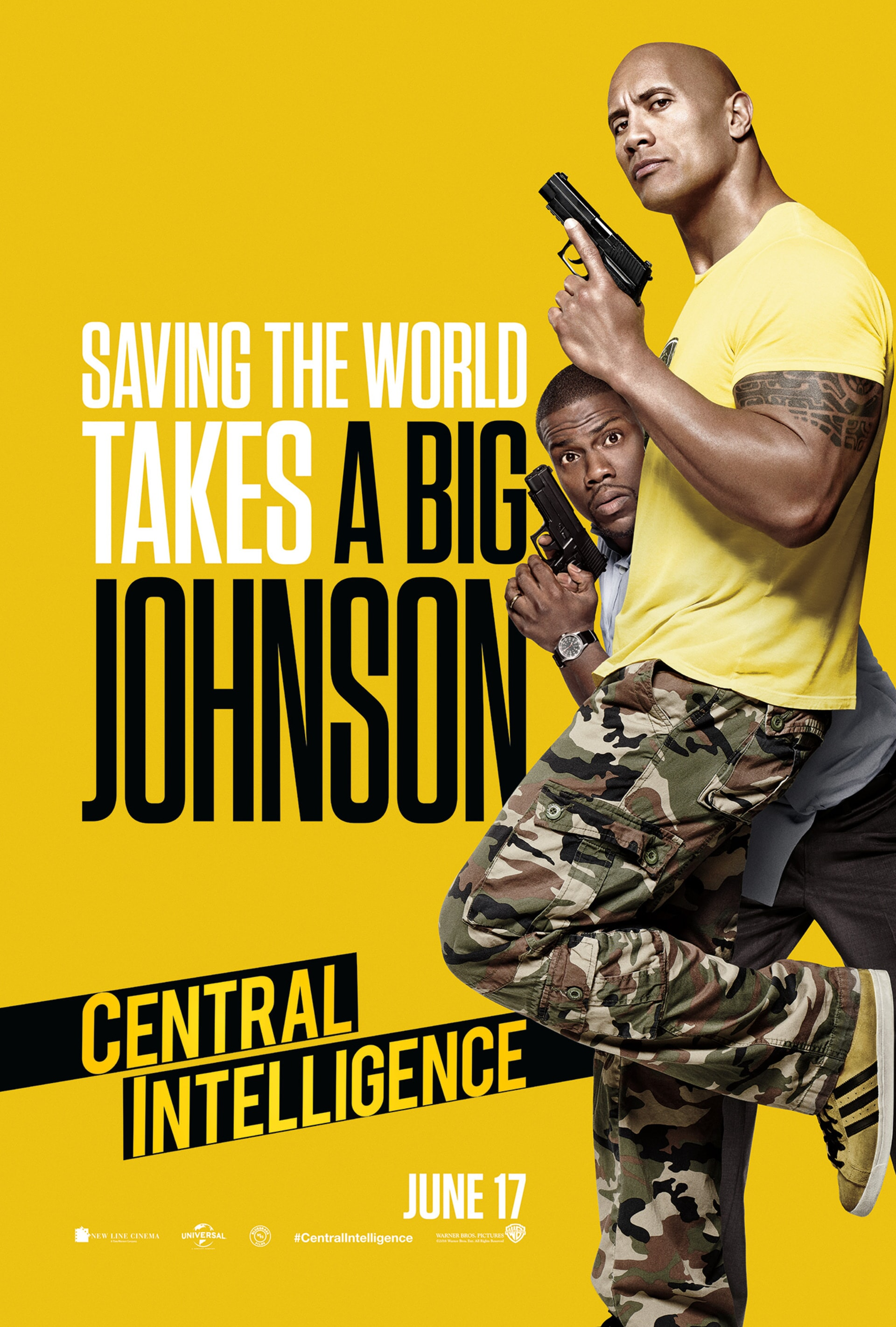 Central Intelligence poster: Dwanyne Johnson in camo pants and yellow tee. Kevin Hart hiding behind him. Both holding handguns.