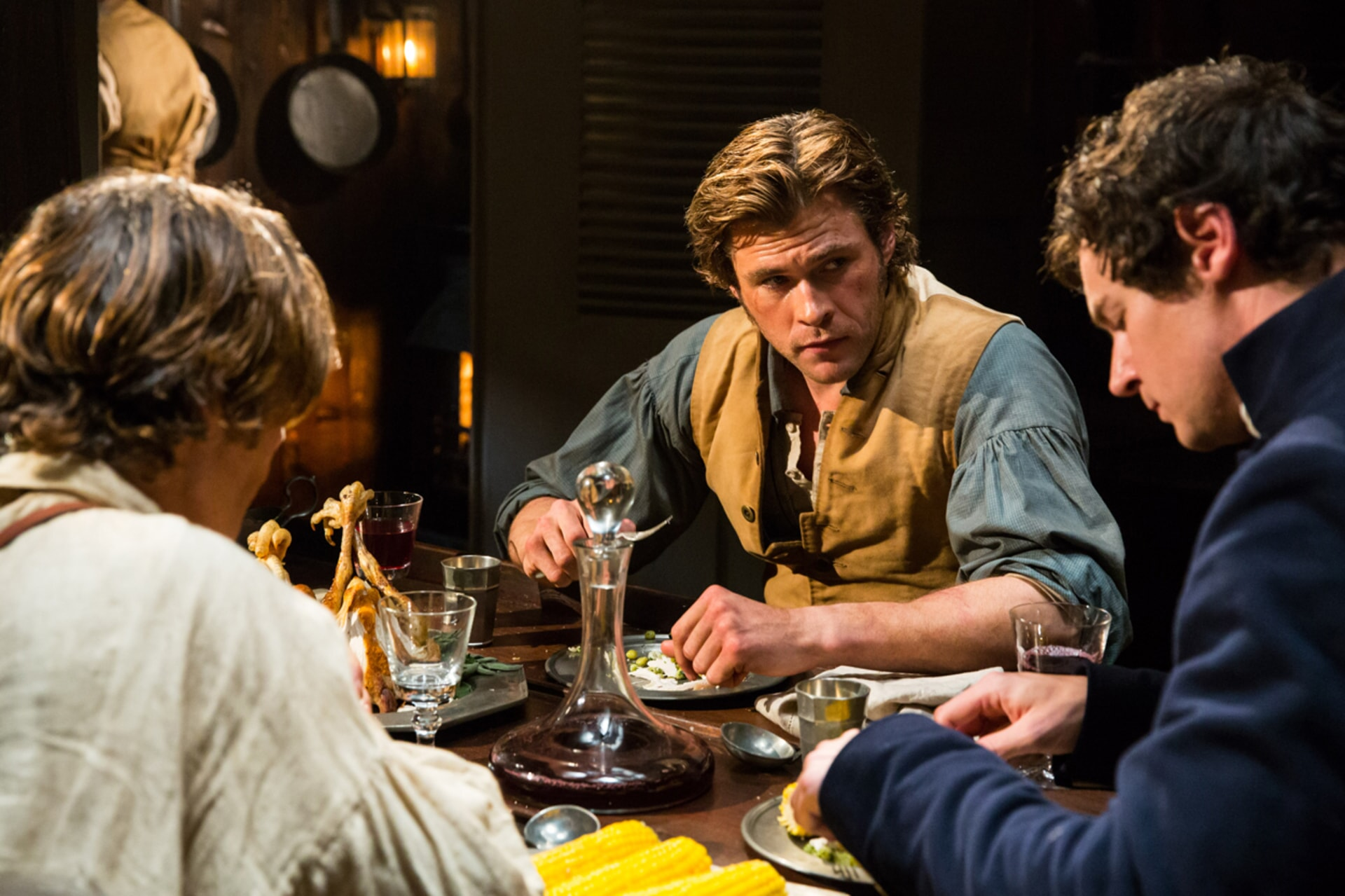 "CILLIAN MURPHY as Matthew Joy, CHRIS HEMSWORTH as Owen Chase and BENJAMIN WALKER as George Pollard in Warner Bros. Pictures' and Village Roadshow Pictures' action adventure ""IN THE HEART OF THE SEA,"" distributed worldwide by Warner Bros. Pictures and in select territories by Village Roadshow Pictures."