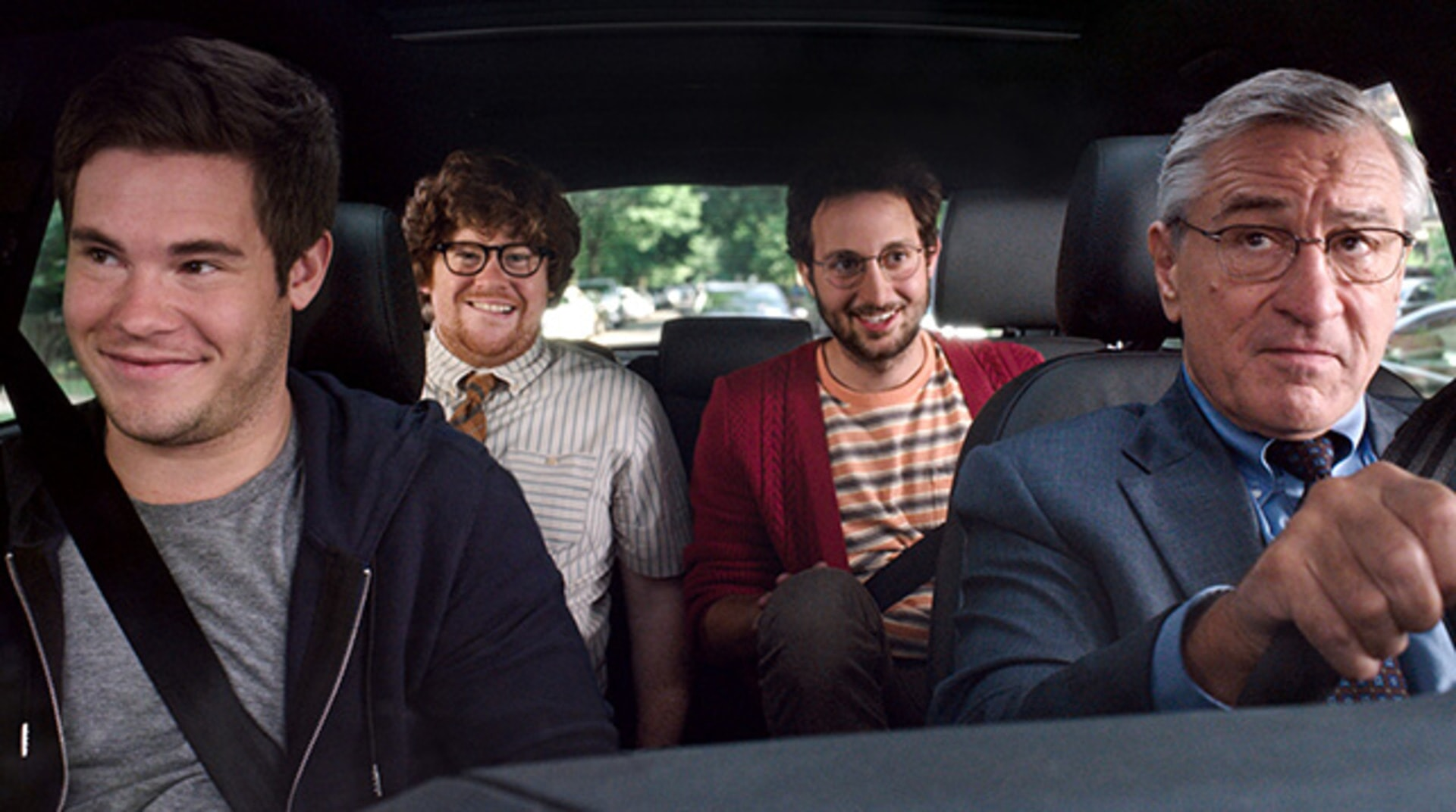 "ADAM DEVINE as Jason, ZACK PEARLMAN as Davis, JASON ORLEY as Lewis and ROBERT DE NIRO as Ben Whittaker in Warner Bros. Pictures' comedy ""THE INTERN."""