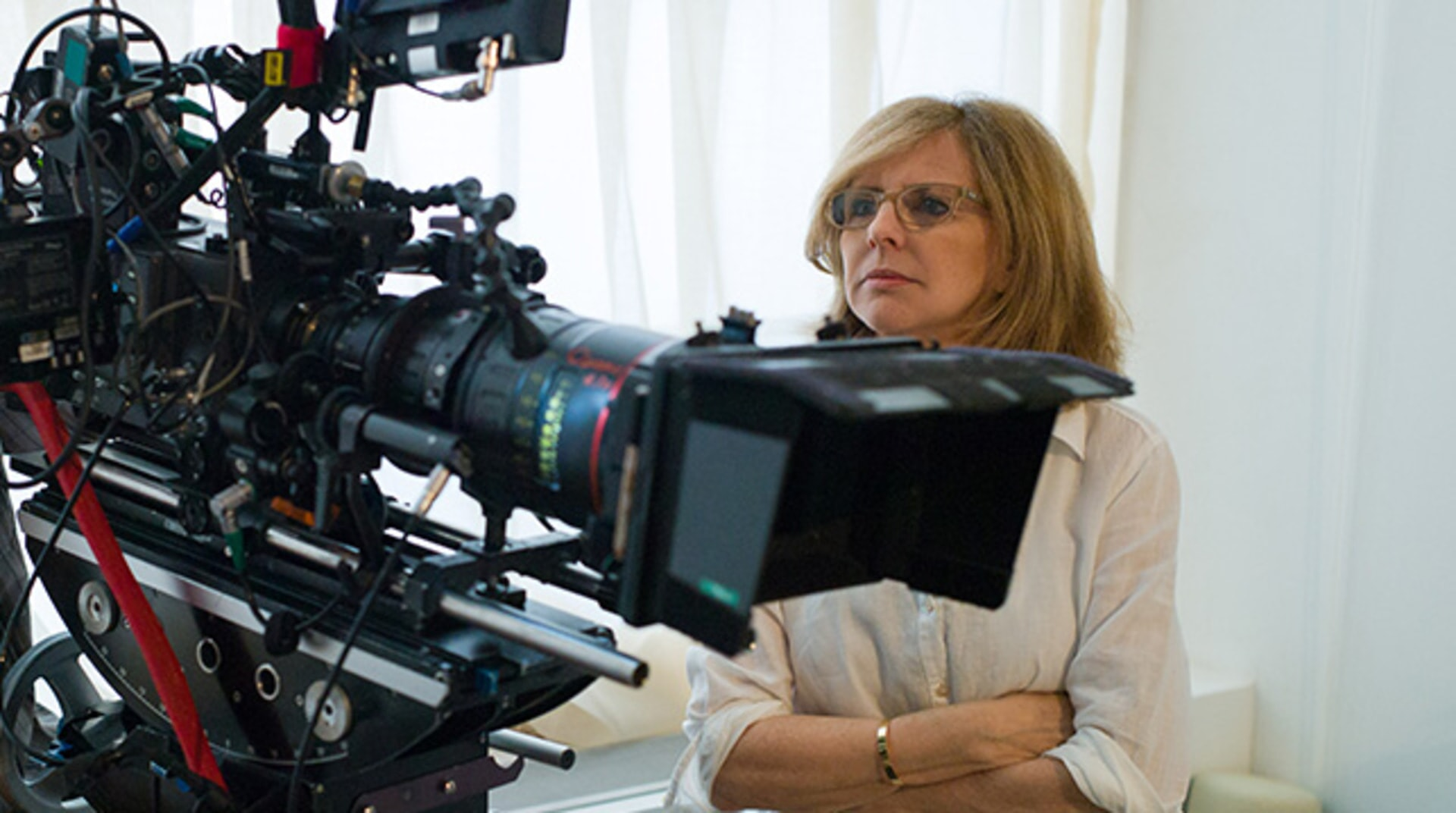 "Writer/director/producer NANCY MEYERS on the set of Warner Bros. Pictures' comedy ""THE INTERN."""