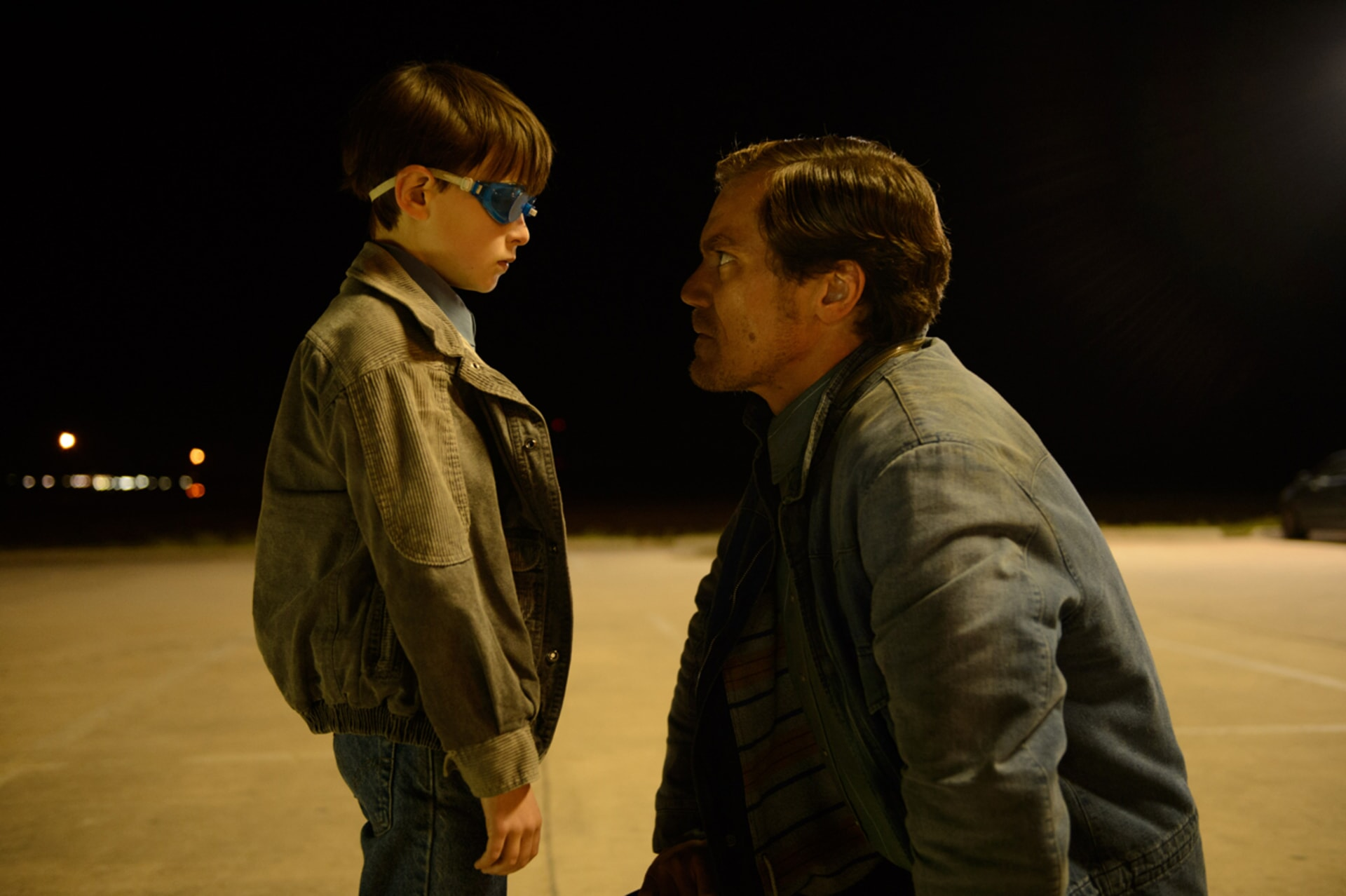 "JAEDEN LIEBERHER as Alton and MICHAEL SHANNON as Roy in director Jeff Nichols' sci-fi thriller ""MIDNIGHT SPECIAL,"""