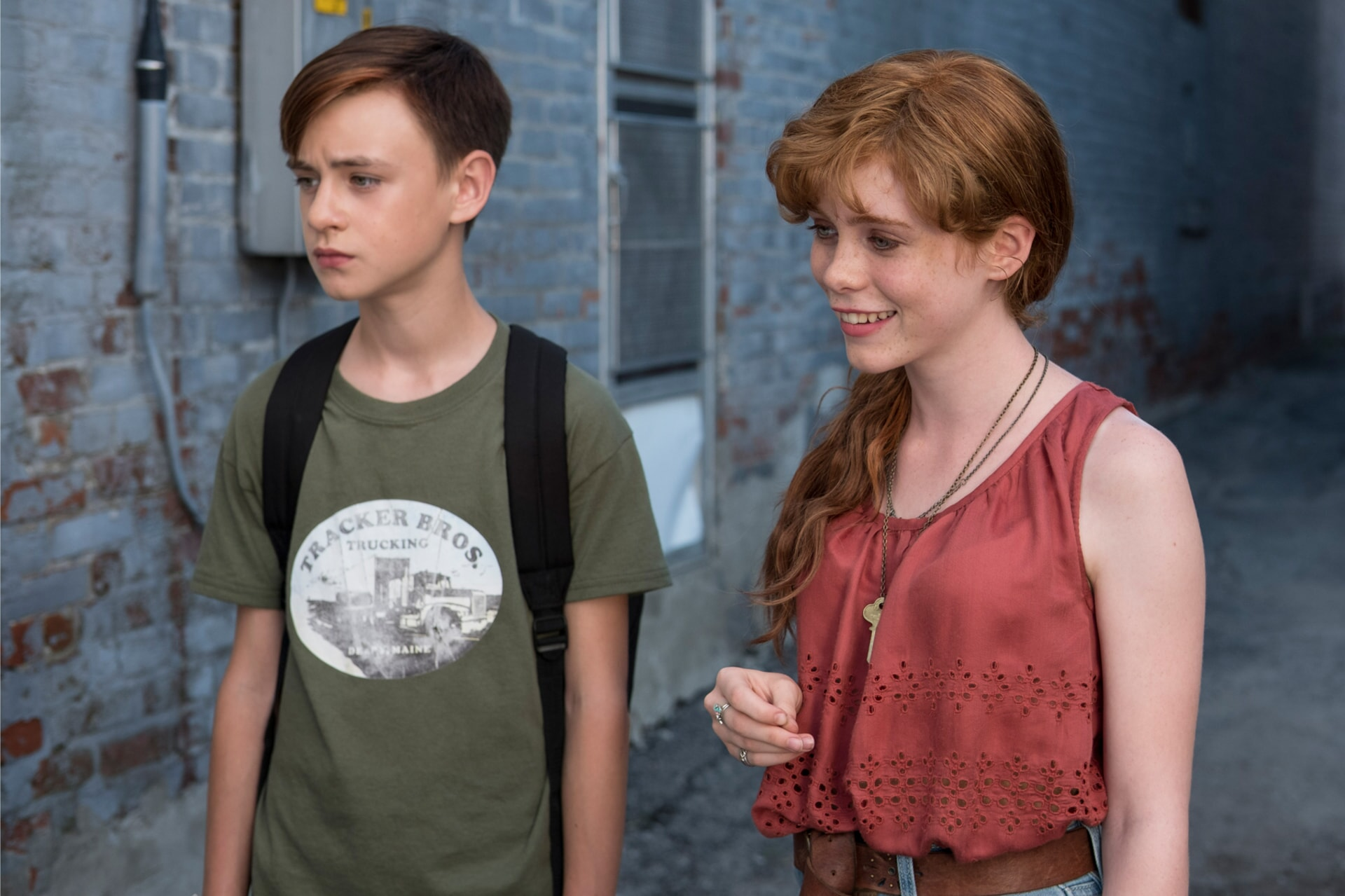 "JAEDEN LIEBERHER as Bill Denbrough and SOPHIA LILLIS as Beverly Marsh in New Line Cinema's horror thriller ""IT,"" a Warner Bros. Pictures release."