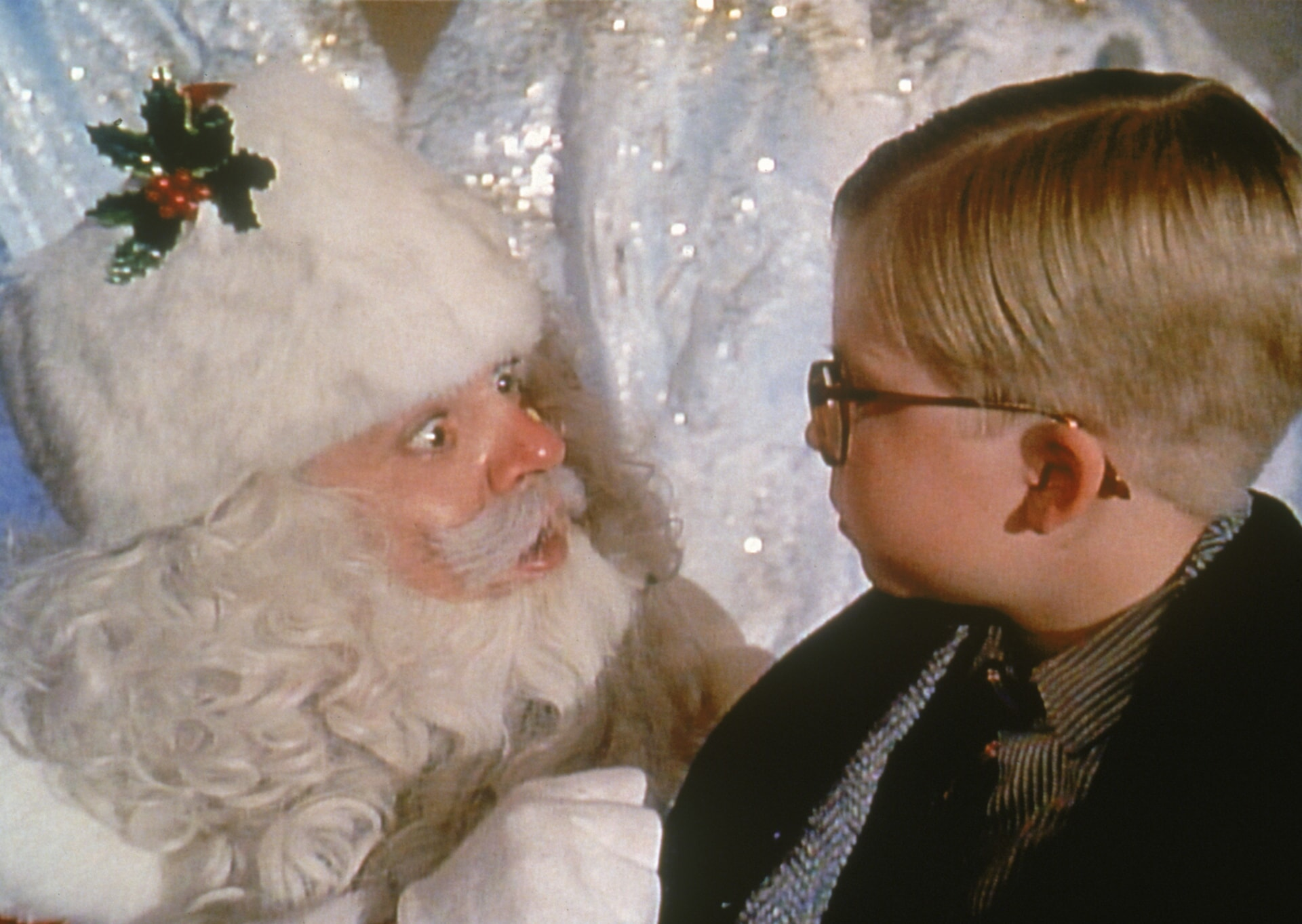 Santa and Ralphie staring at each other