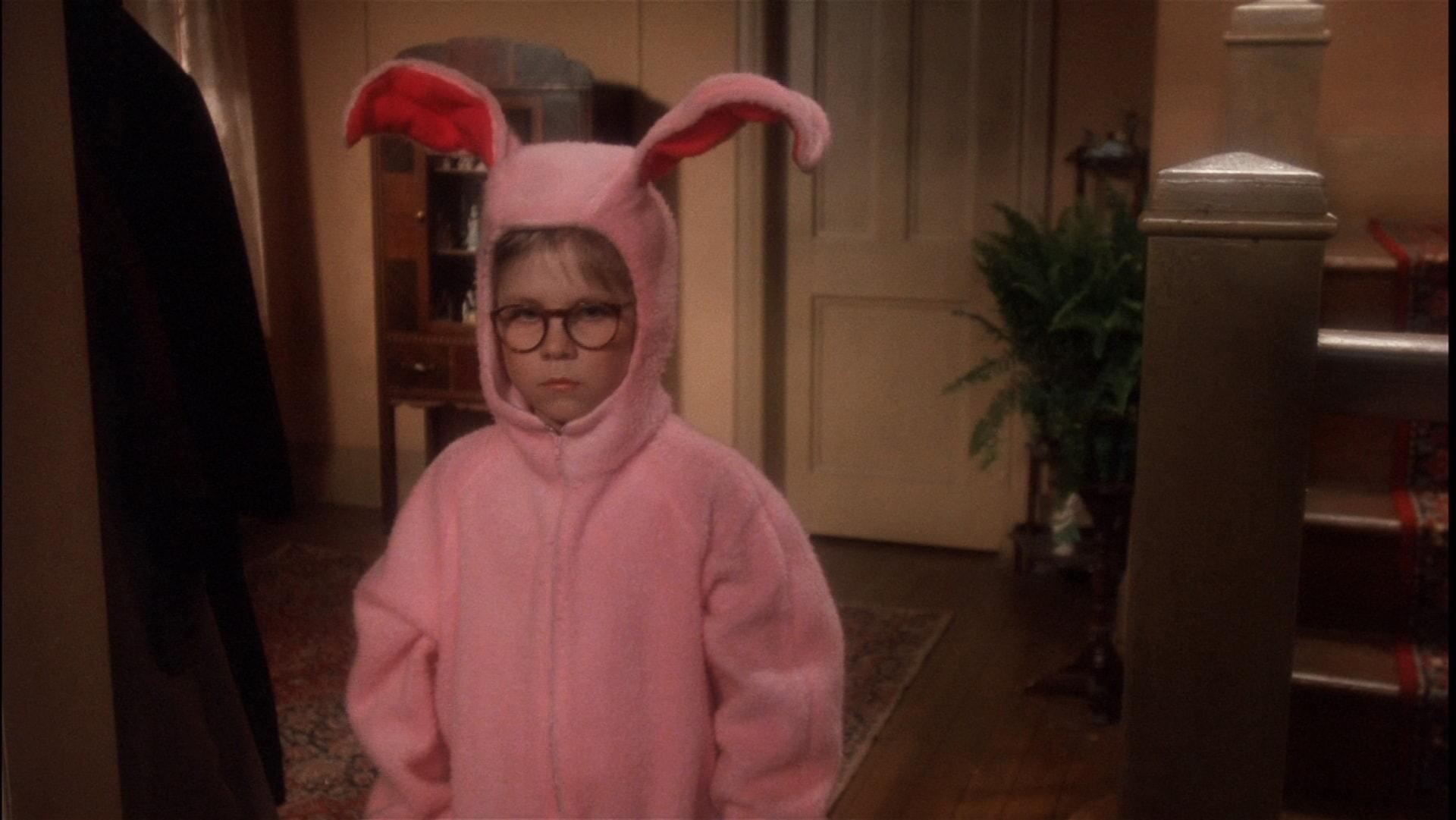 Ralphie wearing bunny pajamas