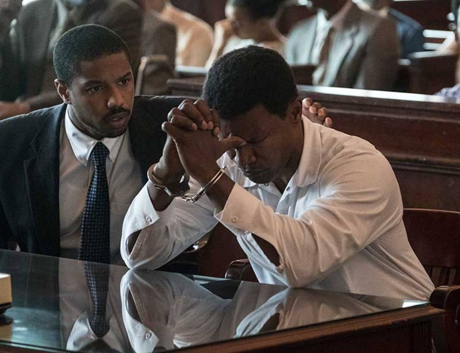 (L-r) MICHAEL B. JORDAN as Bryan Stevenson and JAMIE FOXX as Walter McMillian