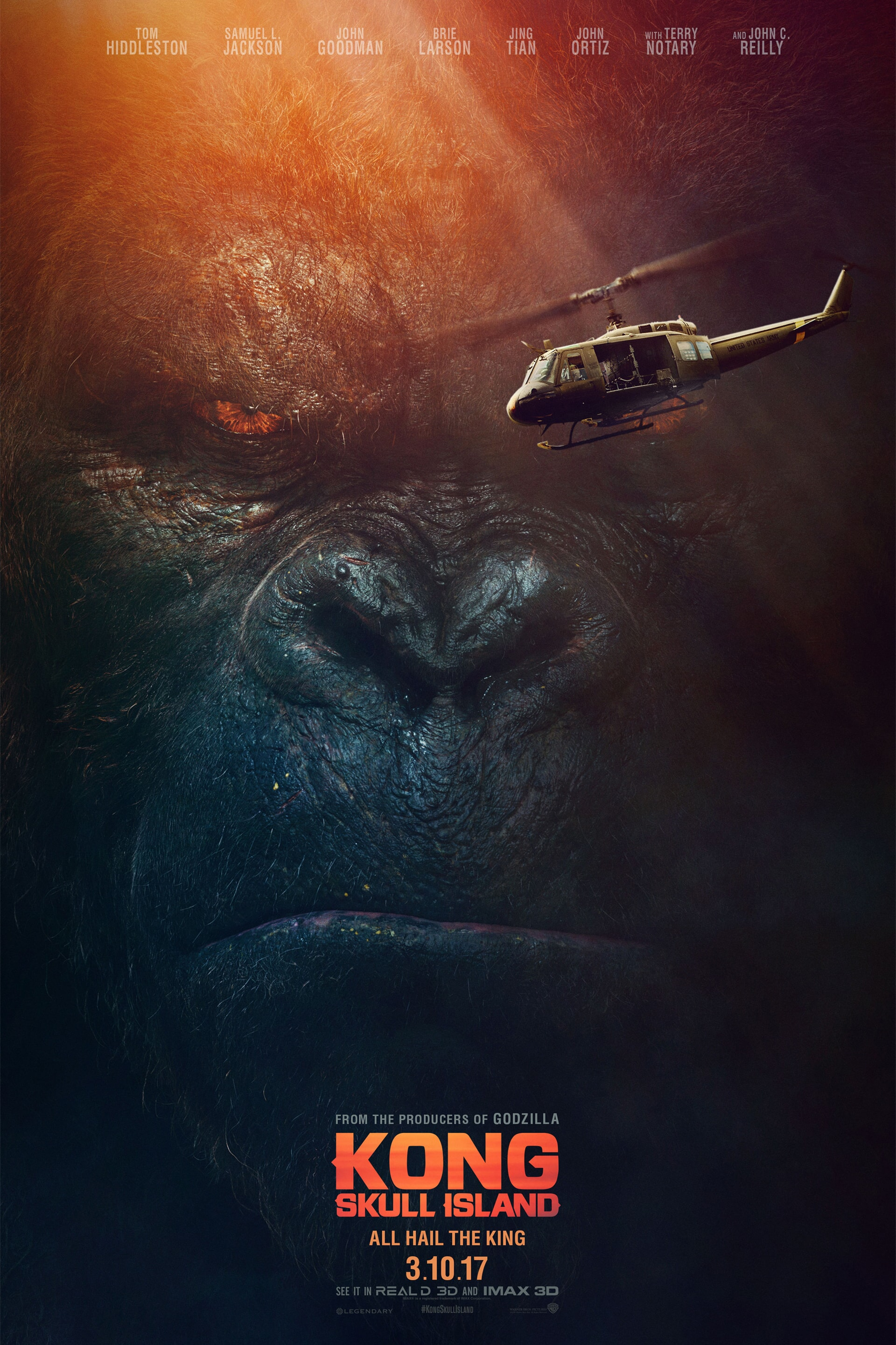 Close-up of Kong's face with helicopter flying in front