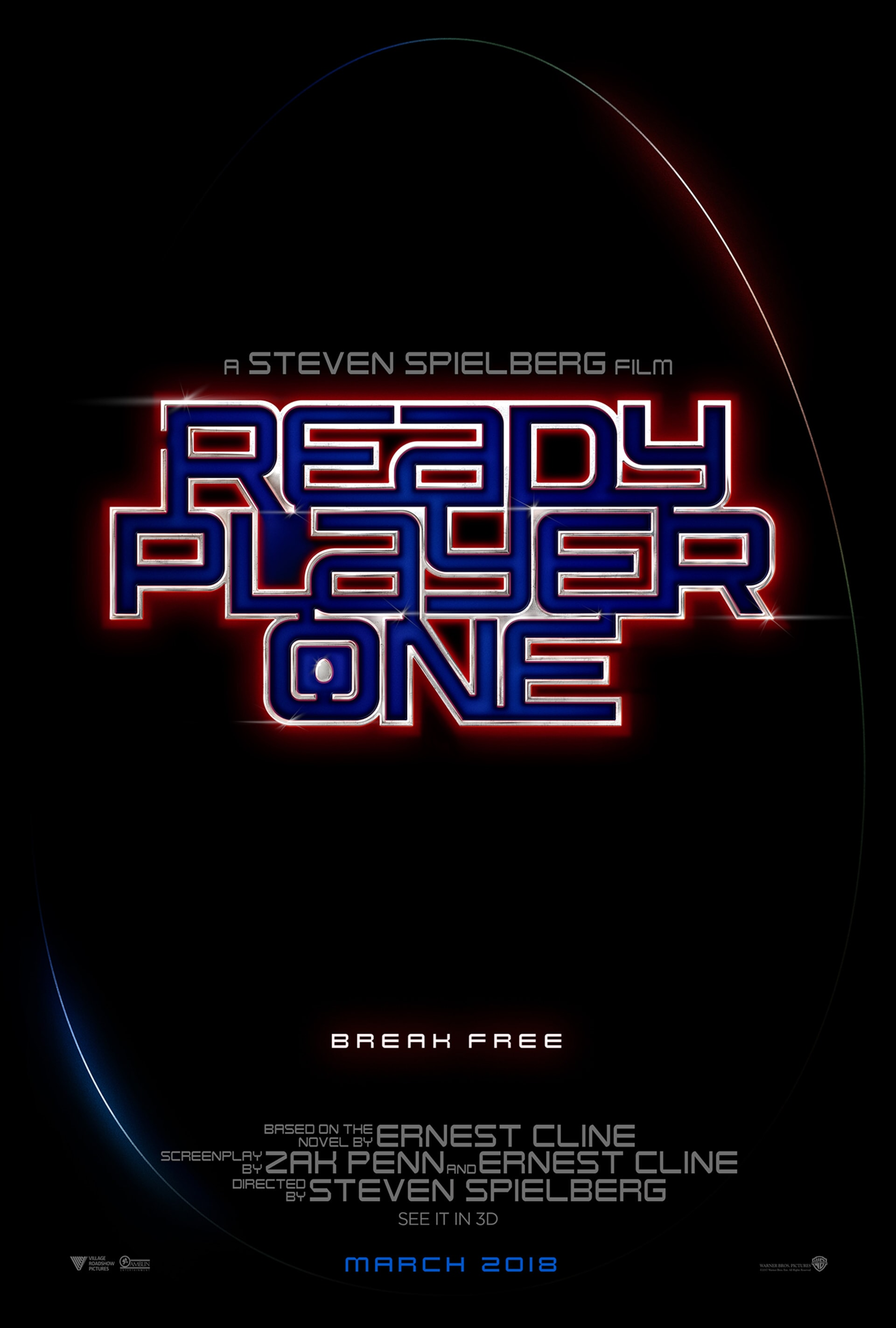 """Ready Player One logo in blue font outlined in red with text """"Break Free"""" below"""
