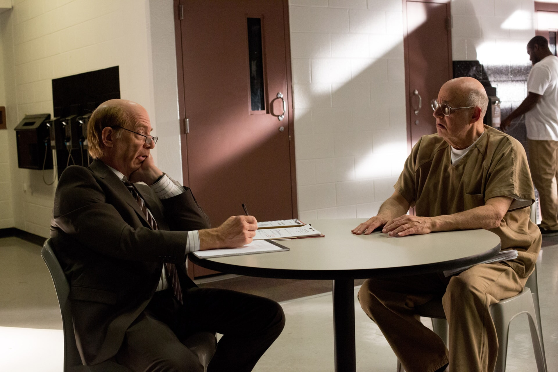 """J.K. SIMMONS as Ray King and JEFFREY TAMBOR as Francis Silverberg in Warner Bros. Pictures' """"THE ACCOUNTANT,"""" a Warner Bros. Pictures release."""