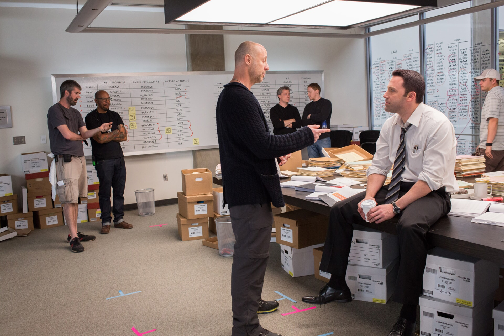 """Director GAVIN O'CONNOR and BEN AFFLECK on the set of Warner Bros. Pictures' """"THE ACCOUNTANT,"""" a Warner Bros. Pictures release."""
