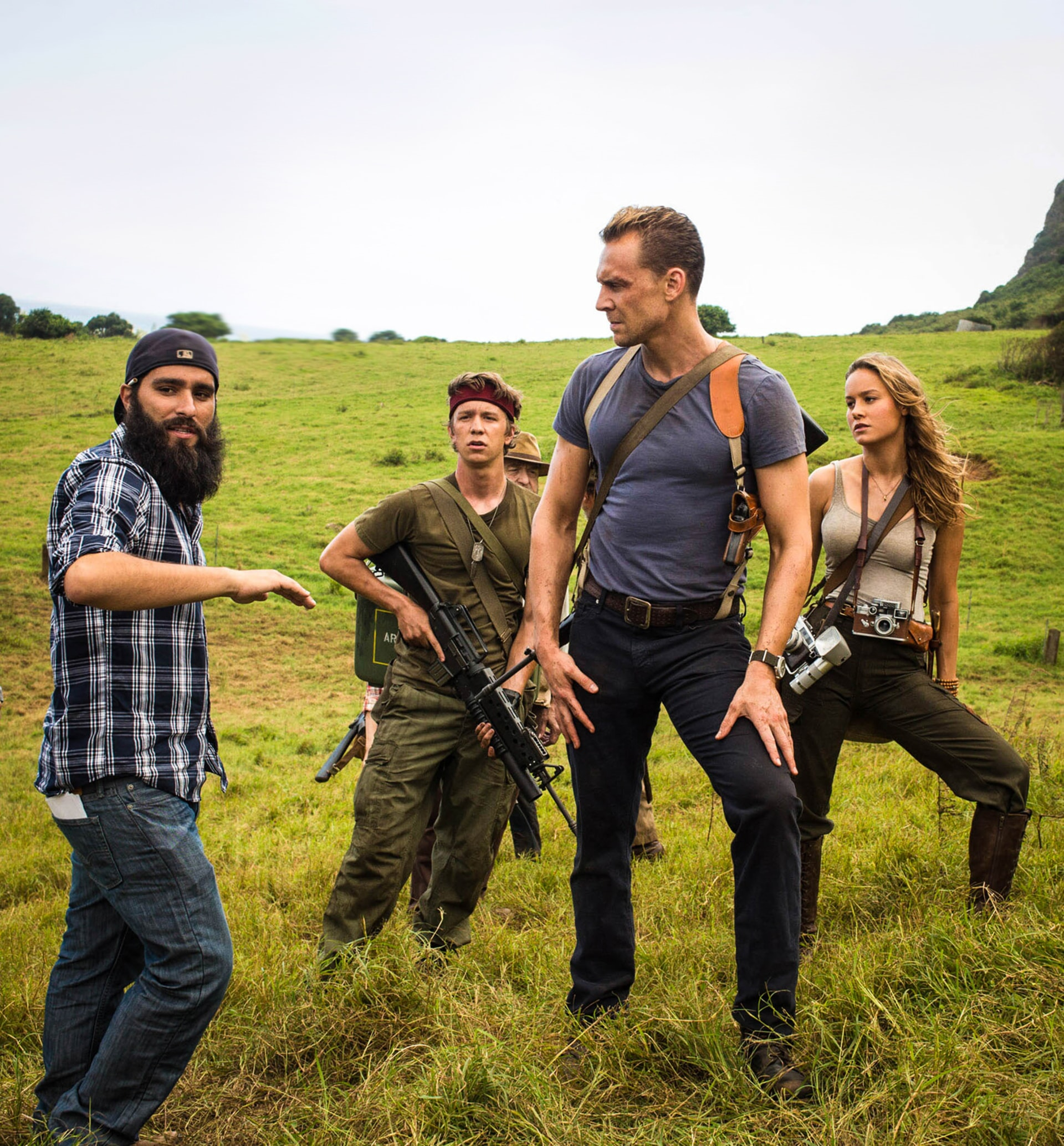 """Director JORDAN VOGT-ROBERTS, THOMAS MANN, TOM HIDDLESTON and BRIE LARSON on the set of Warner Bros. Pictures, Legendary Pictures and Tencent Pictures' action adventure """"KONG: SKULL ISLAND,"""" a Warner Bros. Pictures release."""