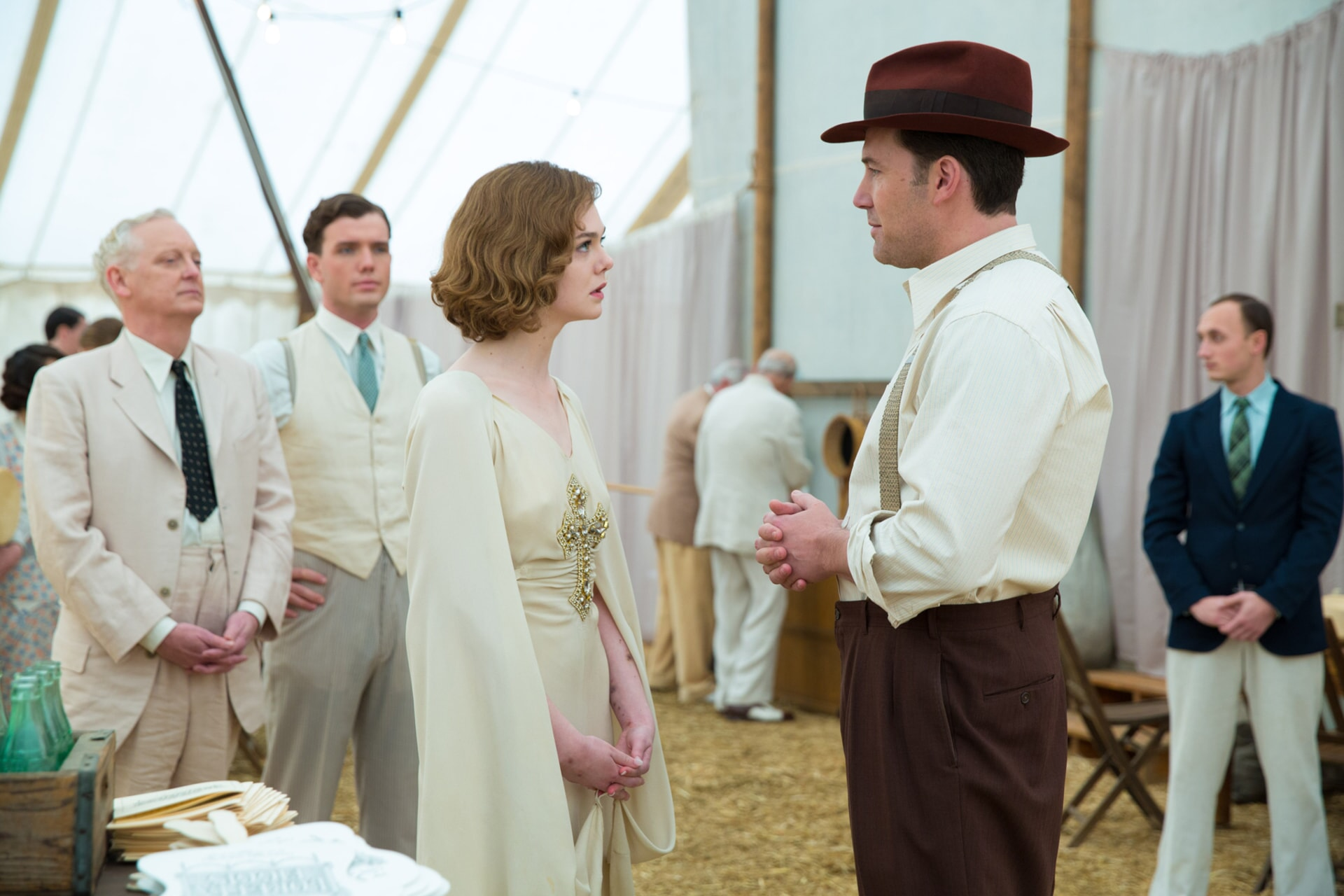 """ELLE FANNING as Loretta Figgis and BEN AFFLECK as Joe Coughlin in Warner Bros. Pictures' dramatic crime thriller """"LIVE BY NIGHT,"""" a Warner Bros. Pictures release."""