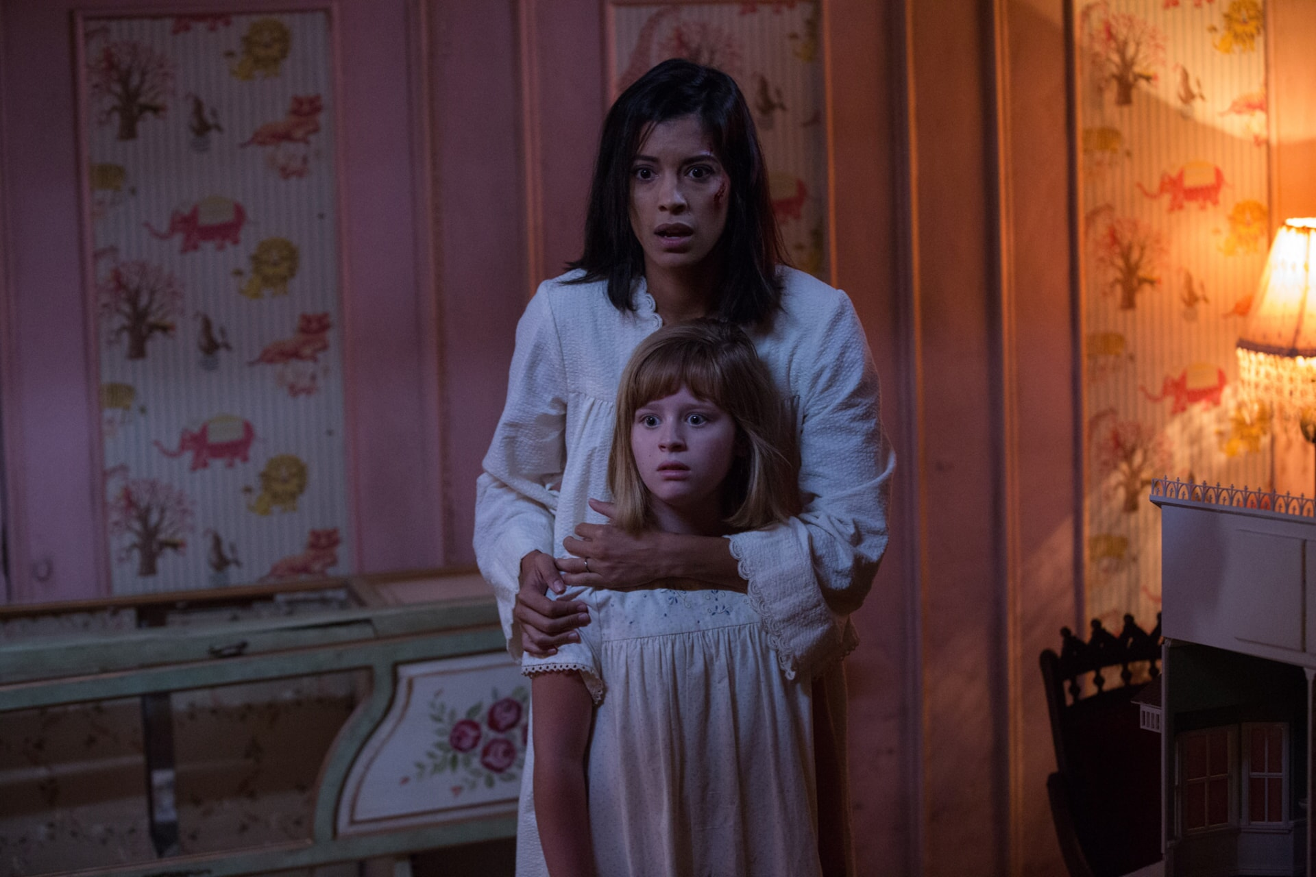 "LULU WILSON as Linda and STEPHANIE SIGMAN as Sister Charlotte in New Line Cinema's supernatural thriller ""ANNABELLE: CREATION,"" a Warner Bros. Pictures release."