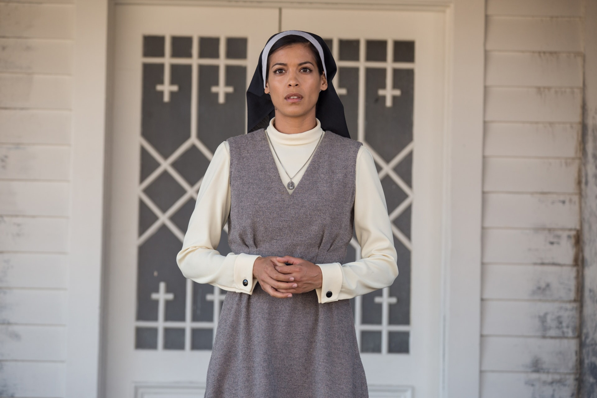"STEPHANIE SIGMAN as Sister Charlotte in New Line Cinema's supernatural thriller ""ANNABELLE: CREATION,"" a Warner Bros. Pictures release."