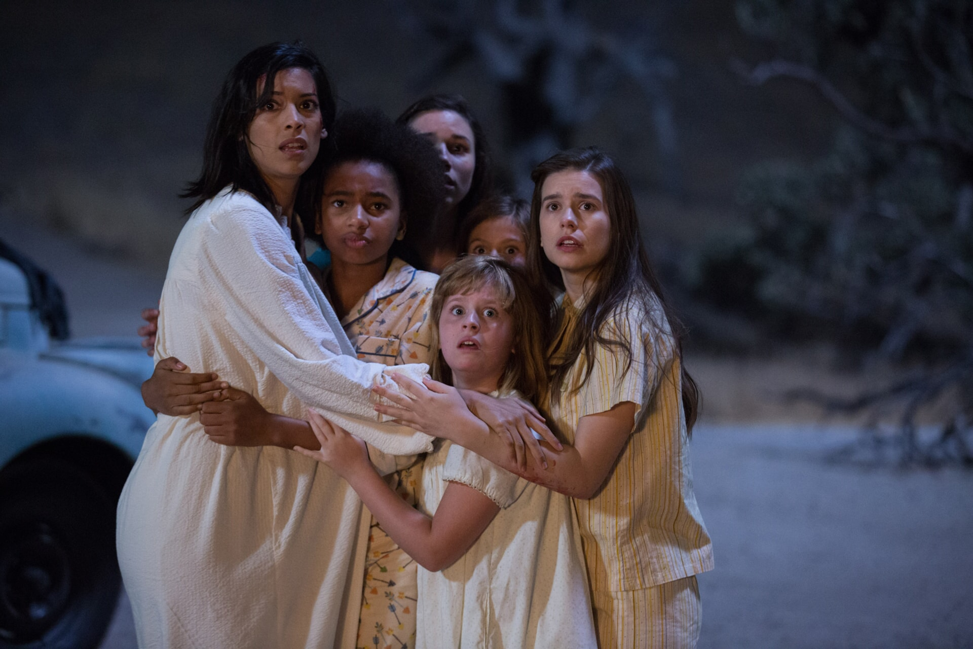 "STEPHANIE SIGMAN as Sister Charlotte, TAYLER BUCK as Kate, GRACE FULTON as Carol, LULU WILSON as Linda, LOU LOU SAFRAN as Tierney and PHILIPPA COULTHARD as Nancy in New Line Cinema's supernatural thriller ""ANNABELLE: CREATION,"" a Warner Bros. Pictures release."