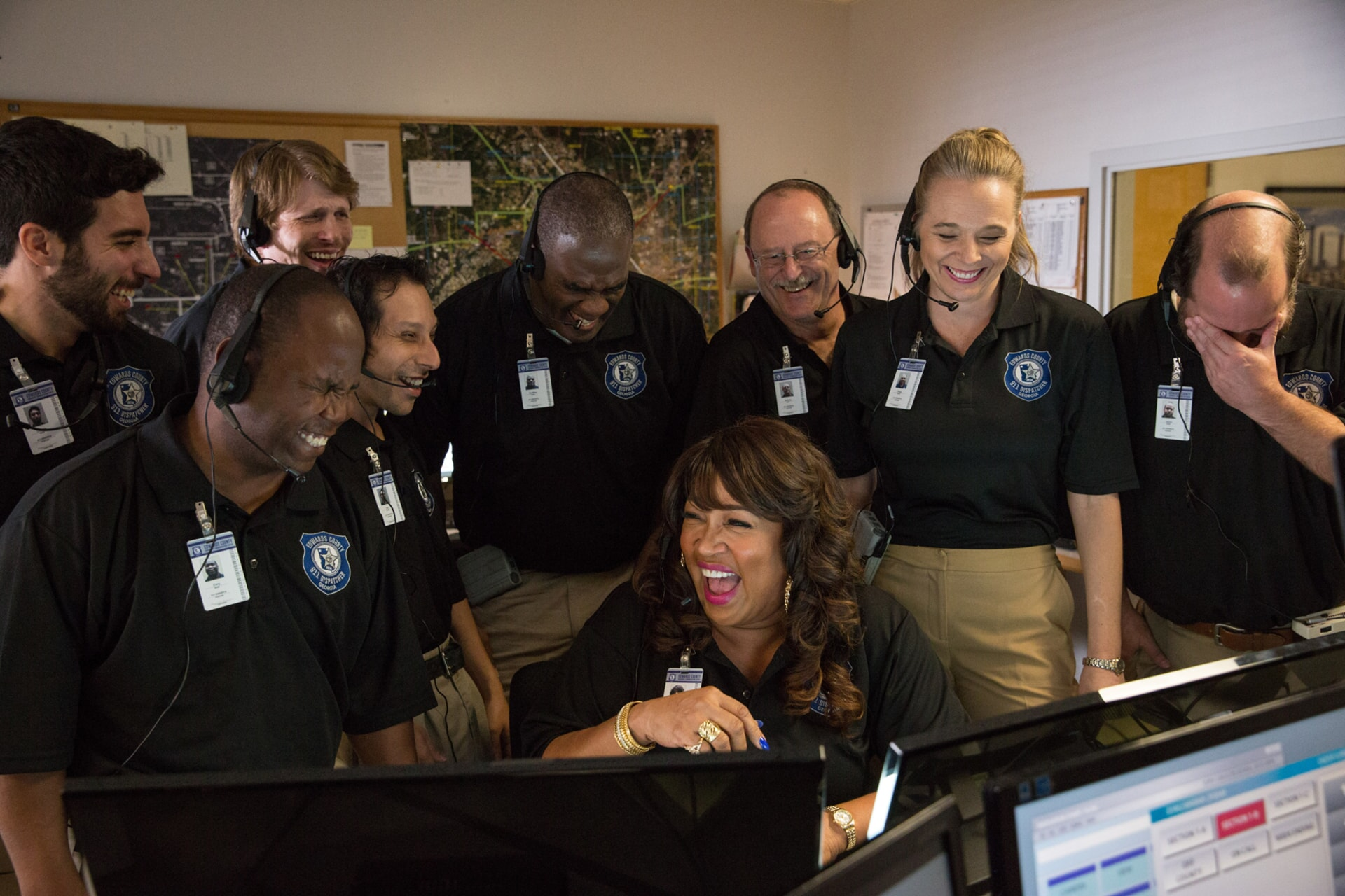 """KYM E. WHITLEY as the 911 operator in the New Line Cinema and Village Roadshow Pictures comedy """"FIST FIGHT,"""" a Warner Bros. Pictures release."""
