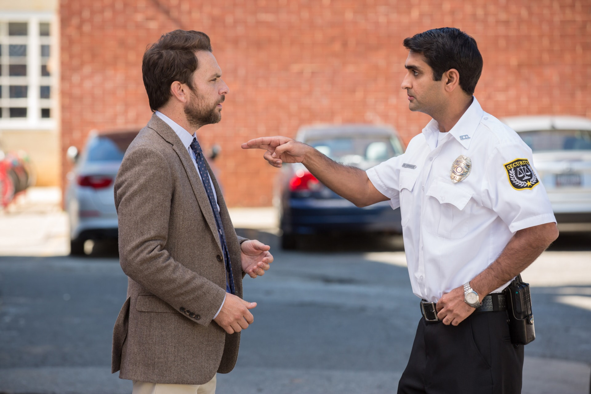 """CHARLIE DAY as Andy Campbell and KUMAIL NANJIANI as Mehar in the New Line Cinema and Village Roadshow Pictures comedy """"FIST FIGHT,"""" a Warner Bros. Pictures release."""