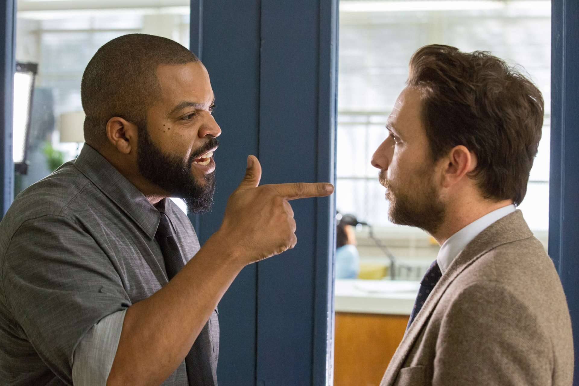 """ICE CUBE as Strickland and CHARLIE DAY as Andy Campbell in the New Line Cinema and Village Roadshow Pictures comedy """"FIST FIGHT,"""" a Warner Bros. Pictures release."""