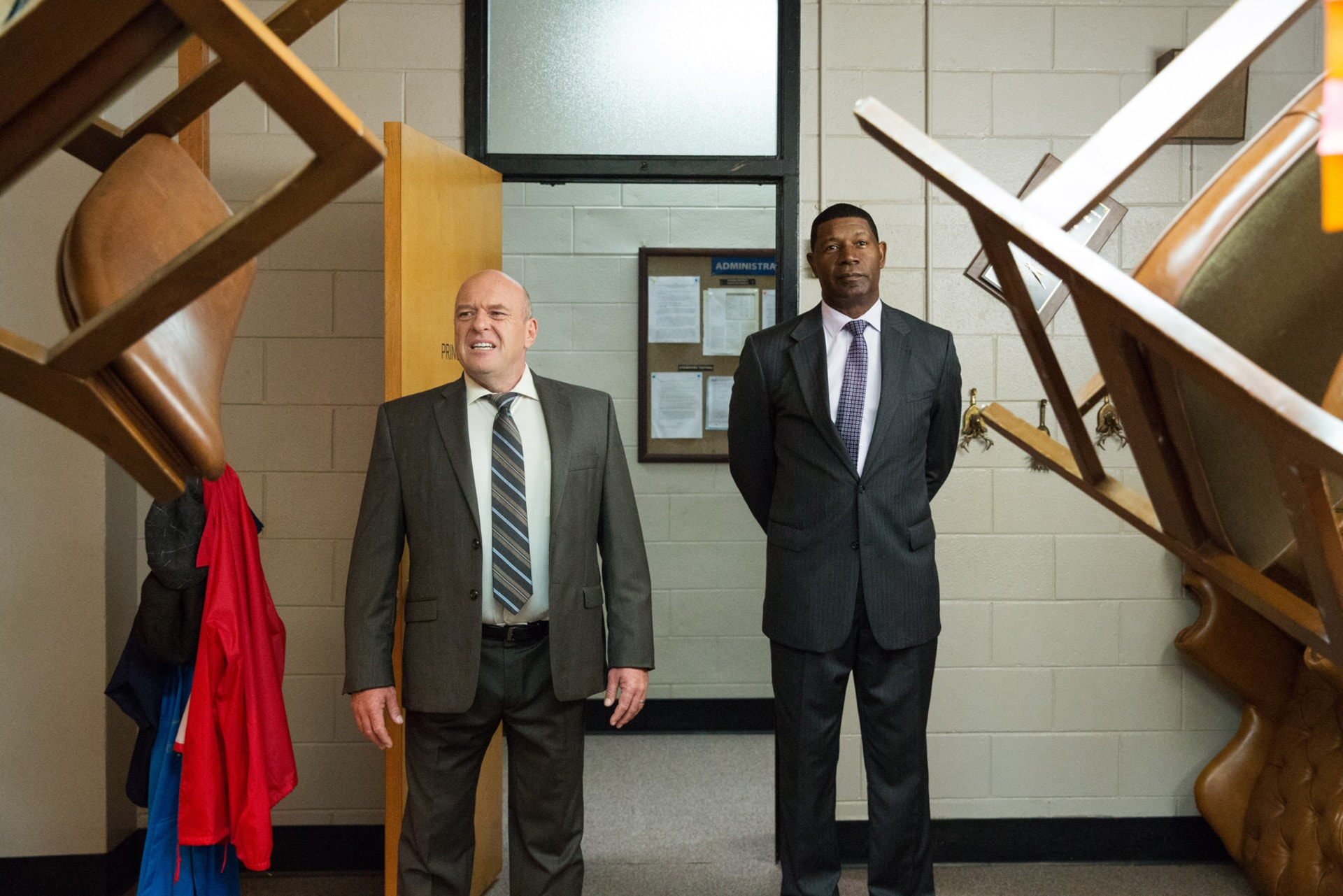 """DEAN NORRIS as Principal Tyler and DENNIS HAYSBERT as Superintendent Johnson in the New Line Cinema and Village Roadshow Pictures comedy """"FIST FIGHT,"""" a Warner Bros. Pictures release."""