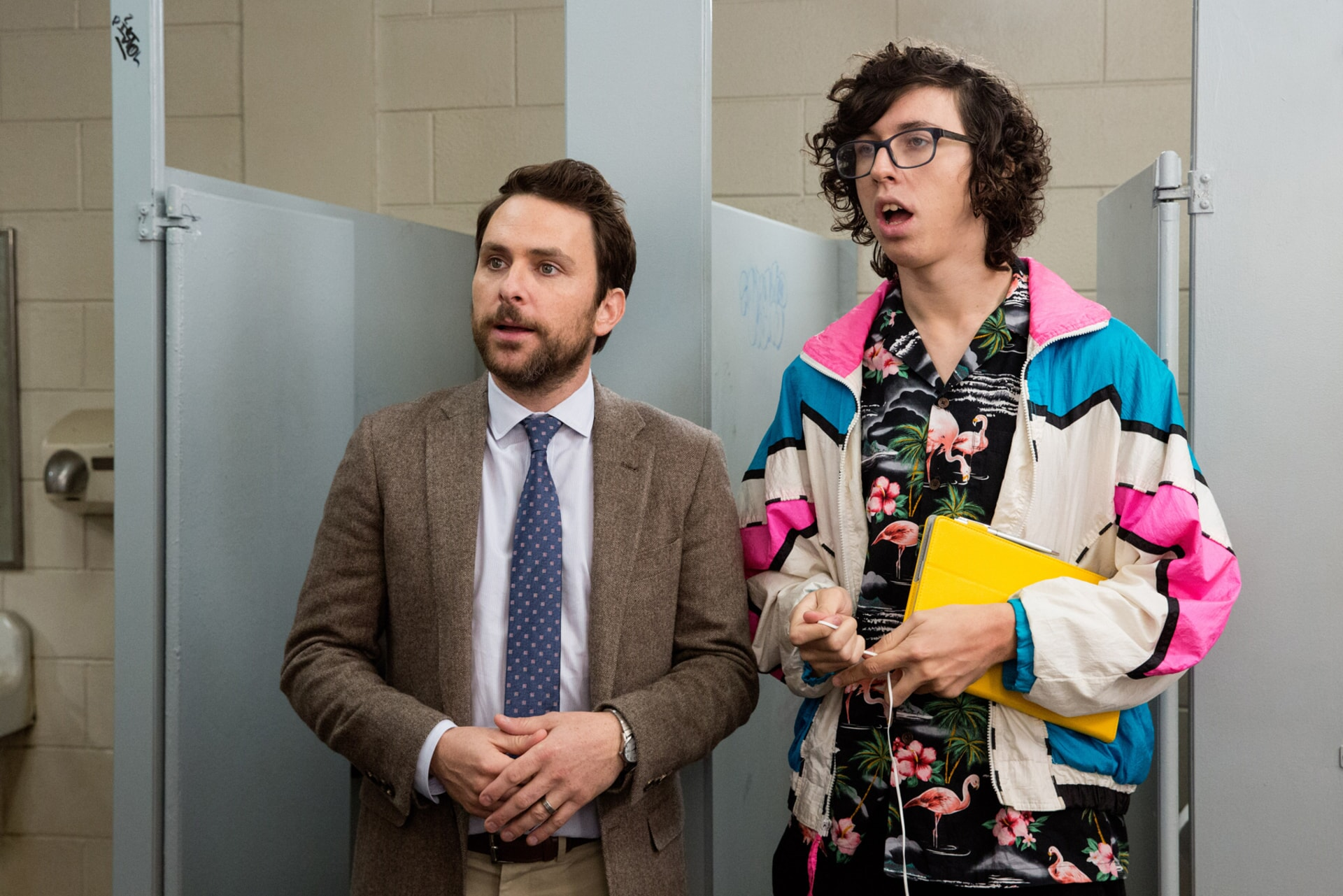 """CHARLIE DAY as Andy Campbell and BILL KOTTKAMP as William in the New Line Cinema and Village Roadshow Pictures comedy """"FIST FIGHT,"""" a Warner Bros. Pictures release."""