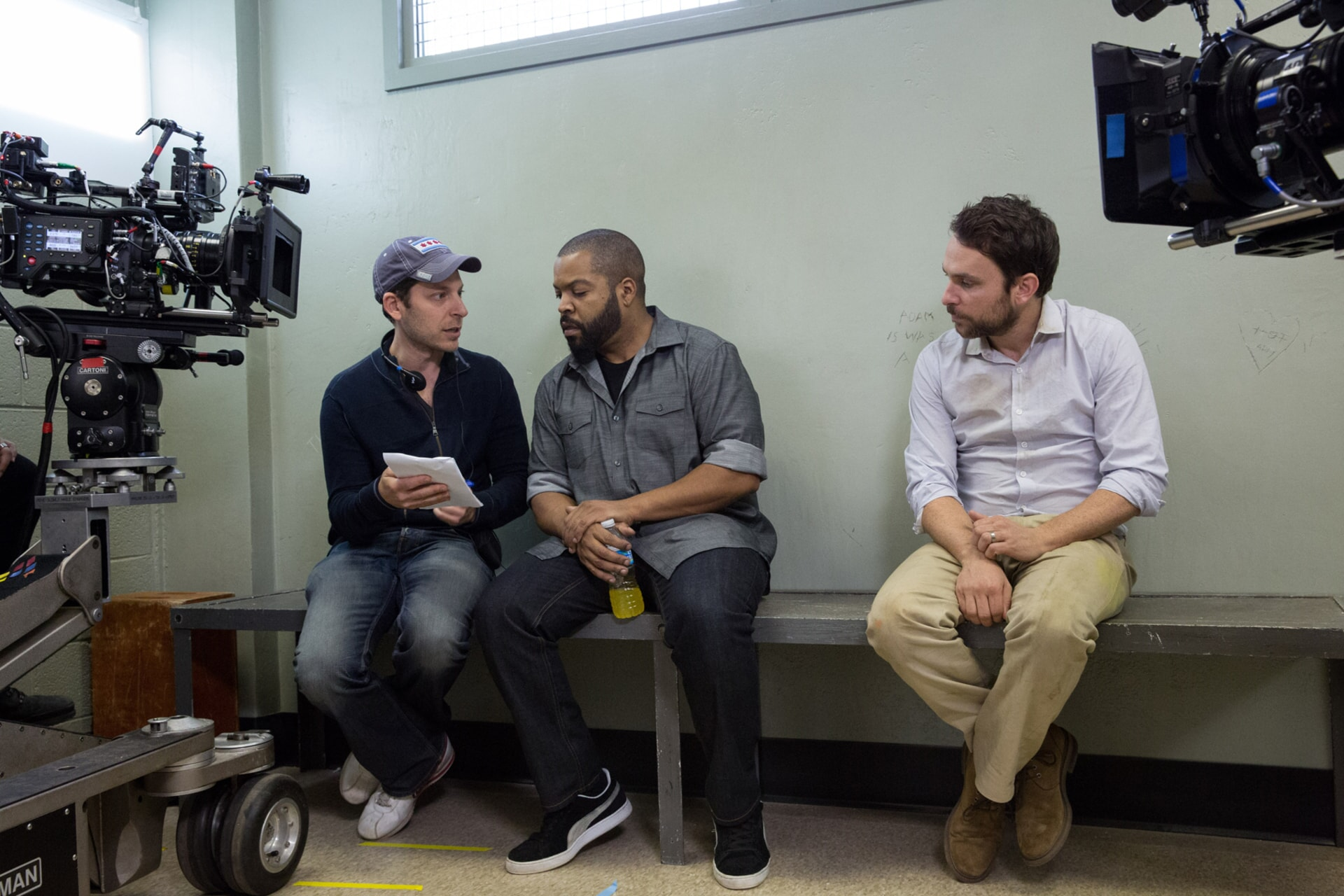 """Director RICHIE KEEN, ICE CUBE and CHARLIE DAY on the set of the New Line Cinema and Village Roadshow Pictures comedy """"FIST FIGHT,"""" a Warner Bros. Pictures release."""
