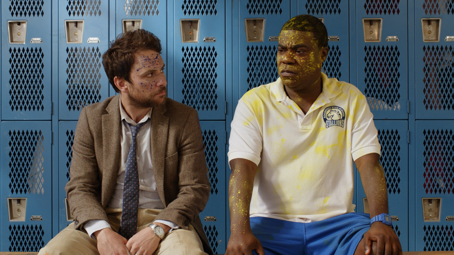 """CHARLIE DAY as Andy Campbell and TRACY MORGAN as Coach Crawford in the New Line Cinema and Village Roadshow Pictures comedy """"FIST FIGHT,"""" a Warner Bros. Pictures release."""
