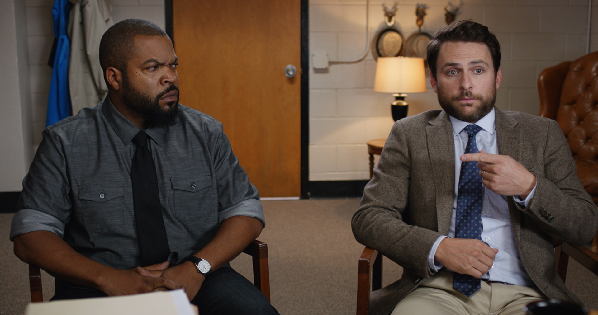 """ICE CUBE as Ron Strickland and CHARLIE DAY as Andy Campbell in the New Line Cinema and Village Roadshow Pictures comedy """"FIST FIGHT,"""" a Warner Bros. Pictures release."""