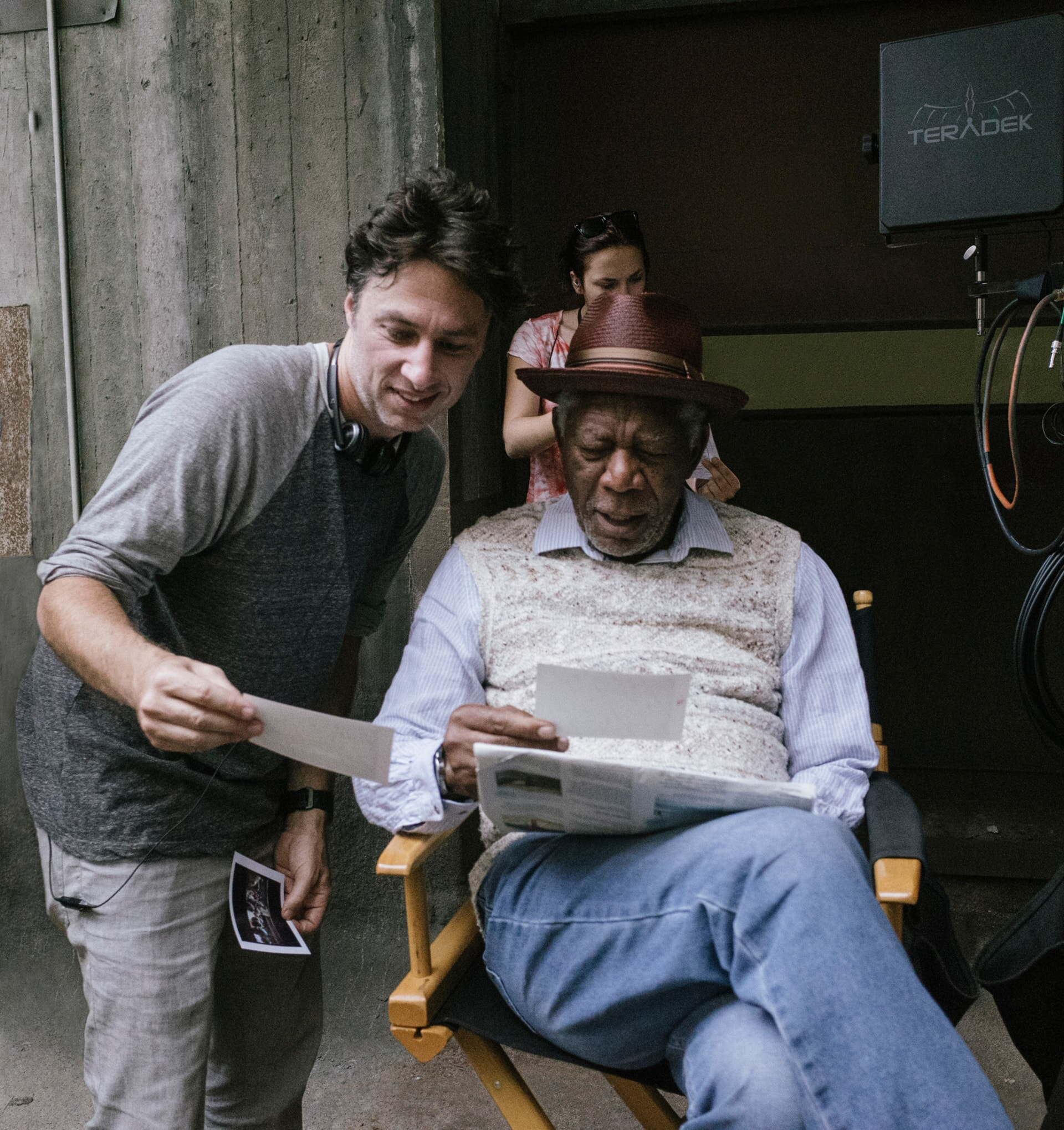 """Director ZACH BRAFF and MORGAN FREEMAN on the set of the New Line Cinema and Village Roadshow comedy """"GOING IN STYLE,"""" a Warner Bros. Pictures release."""