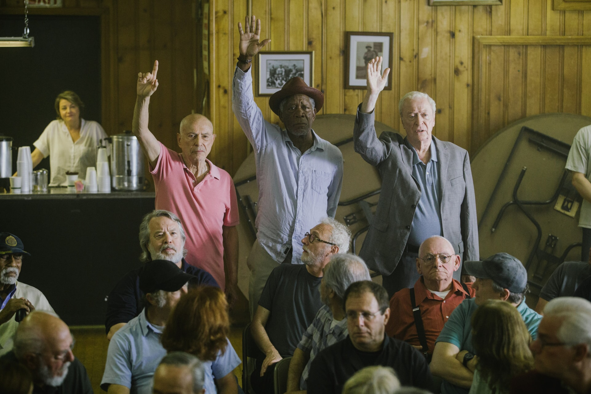 """ALAN ARKIN as Albert Garner, MORGAN FREEMAN as Willie Davis and MICHAEL CAINE as Joe Harding in the New Line Cinema and Village Roadshow comedy """"GOING IN STYLE,"""" a Warner Bros. Pictures release."""