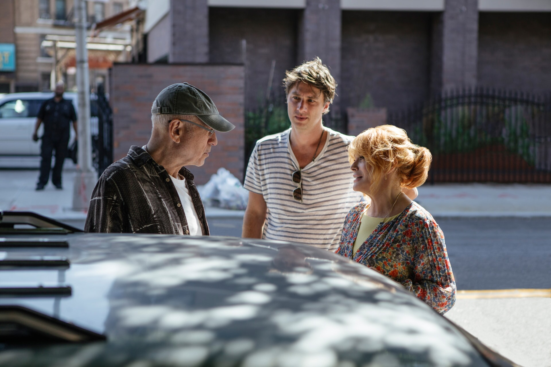 """ALAN ARKIN, director ZACH BRAFF and ANN-MARGRET on the set of the New Line Cinema and Village Roadshow comedy """"GOING IN STYLE,"""" a Warner Bros. Pictures release."""