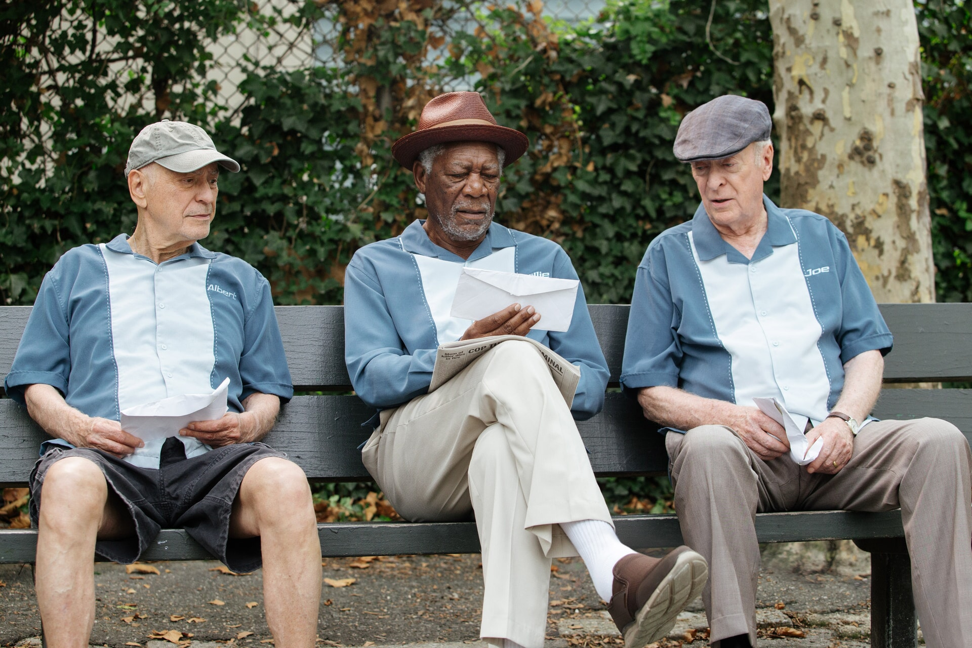 """ALAN ARKIN as Al, MORGAN FREEMAN as Willie and MICHAEL CAINE as Joe in the New Line Cinema comedy """"GOING IN STYLE,"""" a Warner Bros. Pictures release."""