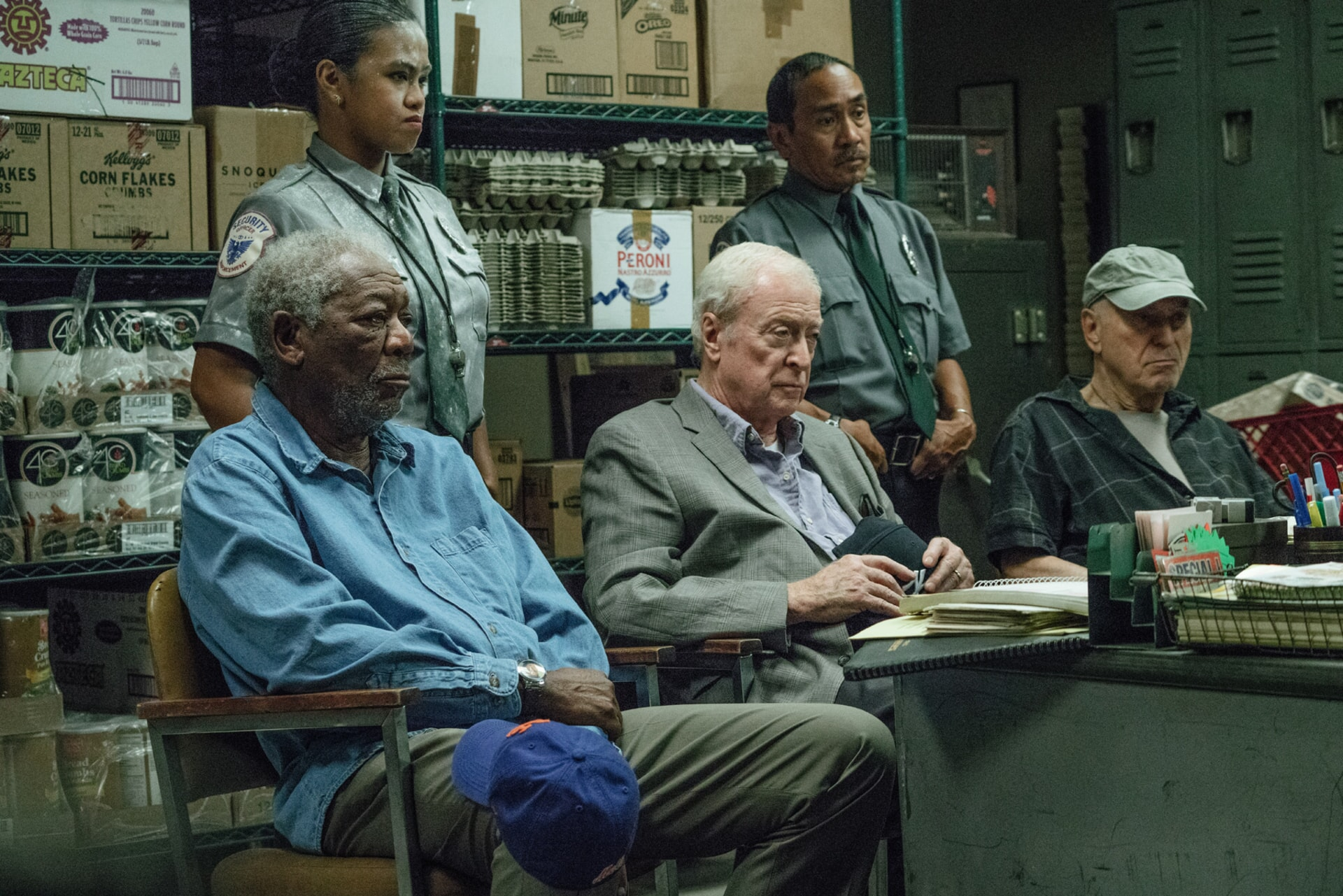 """MORGAN FREEMAN as Willie Davis, MICHAEL CAINE as Joe Harding and ALAN ARKIN as Albert Garner in the New Line Cinema and Village Roadshow comedy """"GOING IN STYLE,"""" a Warner Bros. Pictures release."""