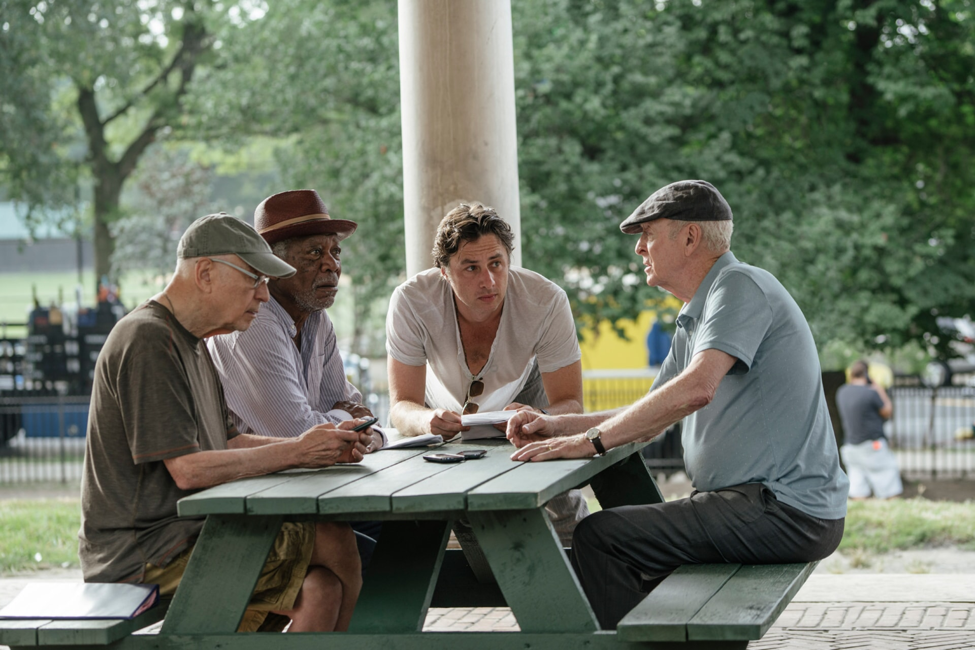 """ALAN ARKIN, MORGAN FREEMAN, director ZACH BRAFF and MICHAEL CAINE on the set of the New Line Cinema and Village Roadshow comedy """"GOING IN STYLE,"""" a Warner Bros. Pictures release."""