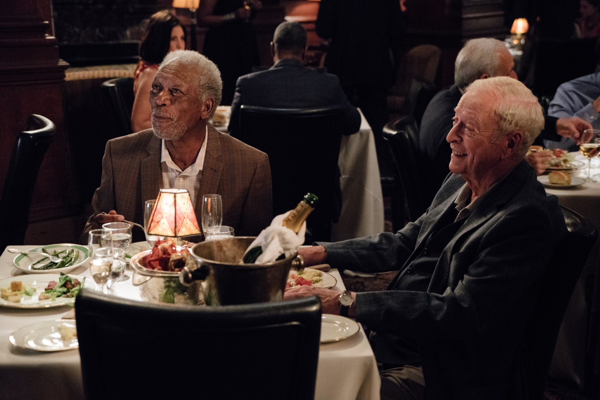"""MORGAN FREEMAN as Willie Davis and MICHAEL CAINE as Joe Harding in the New Line Cinema and Village Roadshow comedy """"GOING IN STYLE,"""" a Warner Bros. Pictures release."""