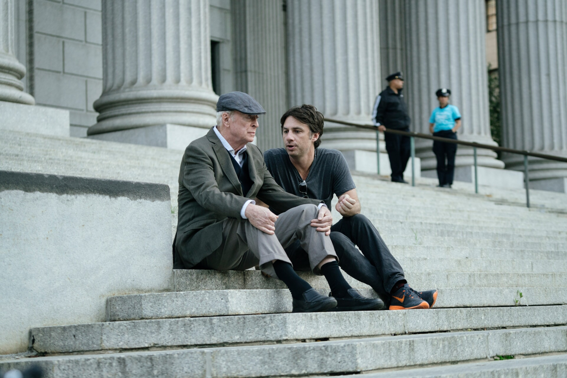 """MICHAEL CAINE and director ZACH BRAFF on the set of the New Line Cinema and Village Roadshow comedy """"GOING IN STYLE,"""" a Warner Bros. Pictures release."""