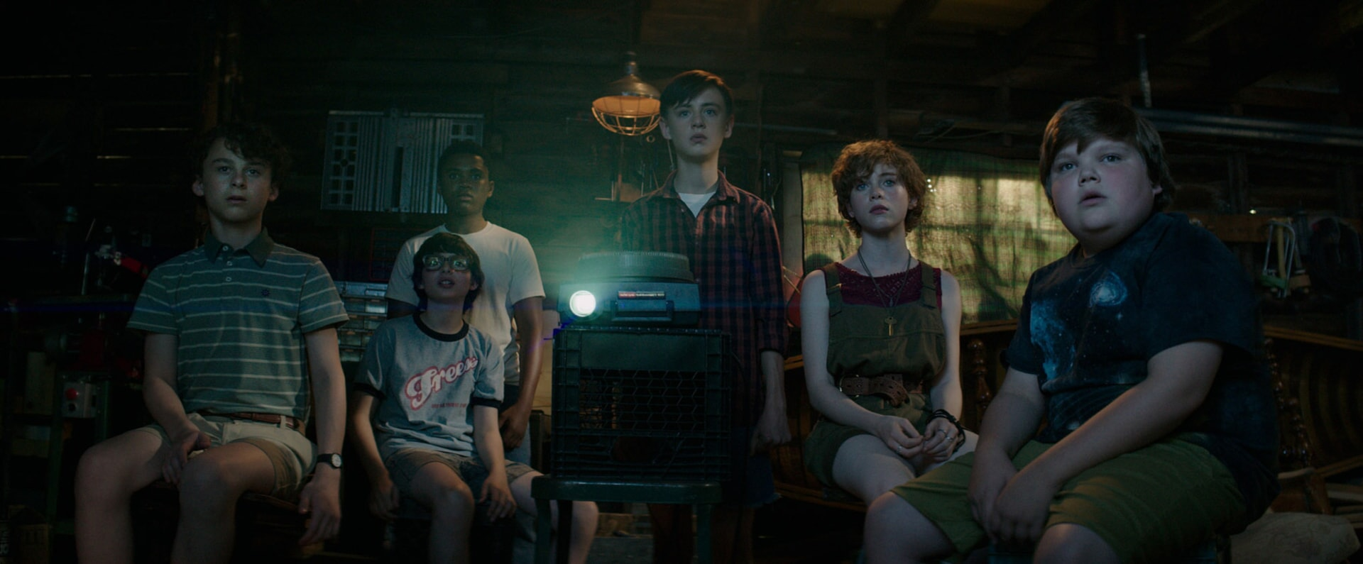 "WYATT OLEFF as Stanley Uris, FINN WOLFHARD as Richie Tozier, CHOSEN JACOBS as Mike Hanlon, JAEDEN LIEBERHER as Bill Denbrough, SOPHIA LILLIS as Beverly Marsh and JEREMY RAY TAYLOR as Ben Hascomb in New Line Cinema's horror thriller ""IT,"" a Warner Bros. Pictures release."