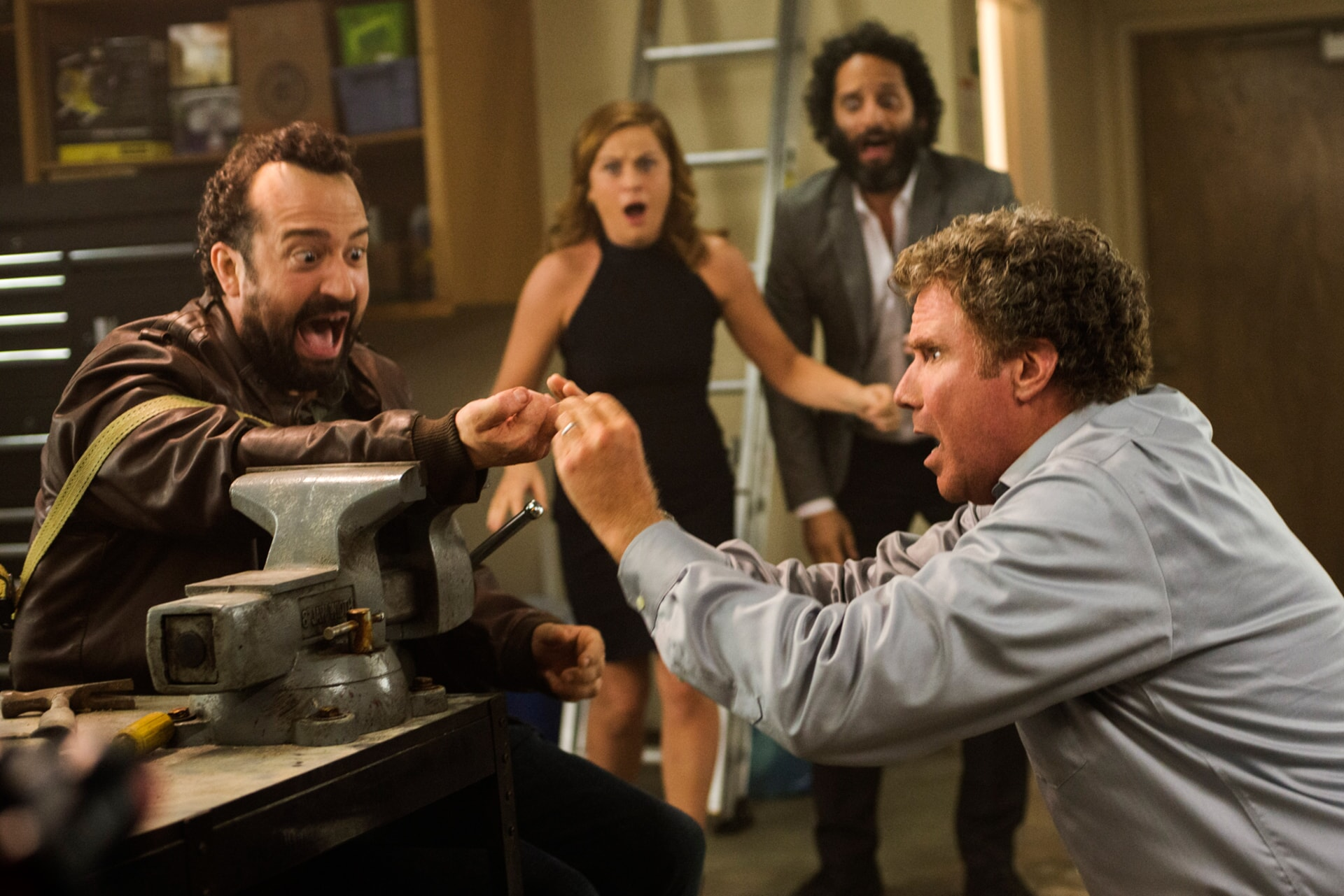 """STEVE ZISSIS as Carl Shackler, AMY POEHLER as Kate Johansen, JASON MANTZOUKAS as Frank and WILL FERRELL as Scott Johansen in the New Line Cinema and Village Roadshow Pictures comedy """"THE HOUSE,"""" a Warner Bros. Pictures release."""