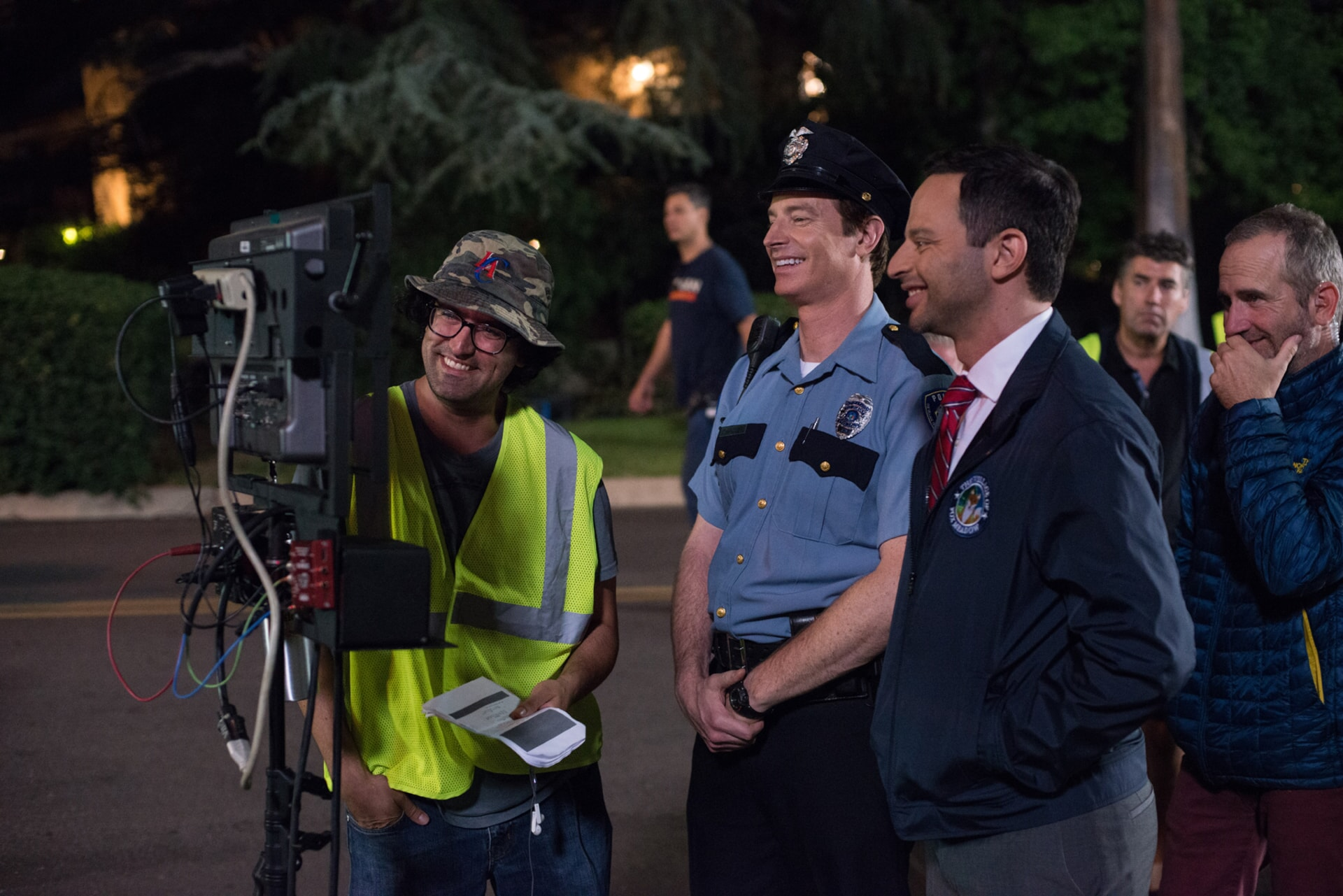 """Director/writer/producer ANDREW JAY COHEN, ROB HUEBEL and NICK KROLL on the set of the New Line Cinema and Village Roadshow Pictures comedy """"THE HOUSE,"""" a Warner Bros. Pictures release."""