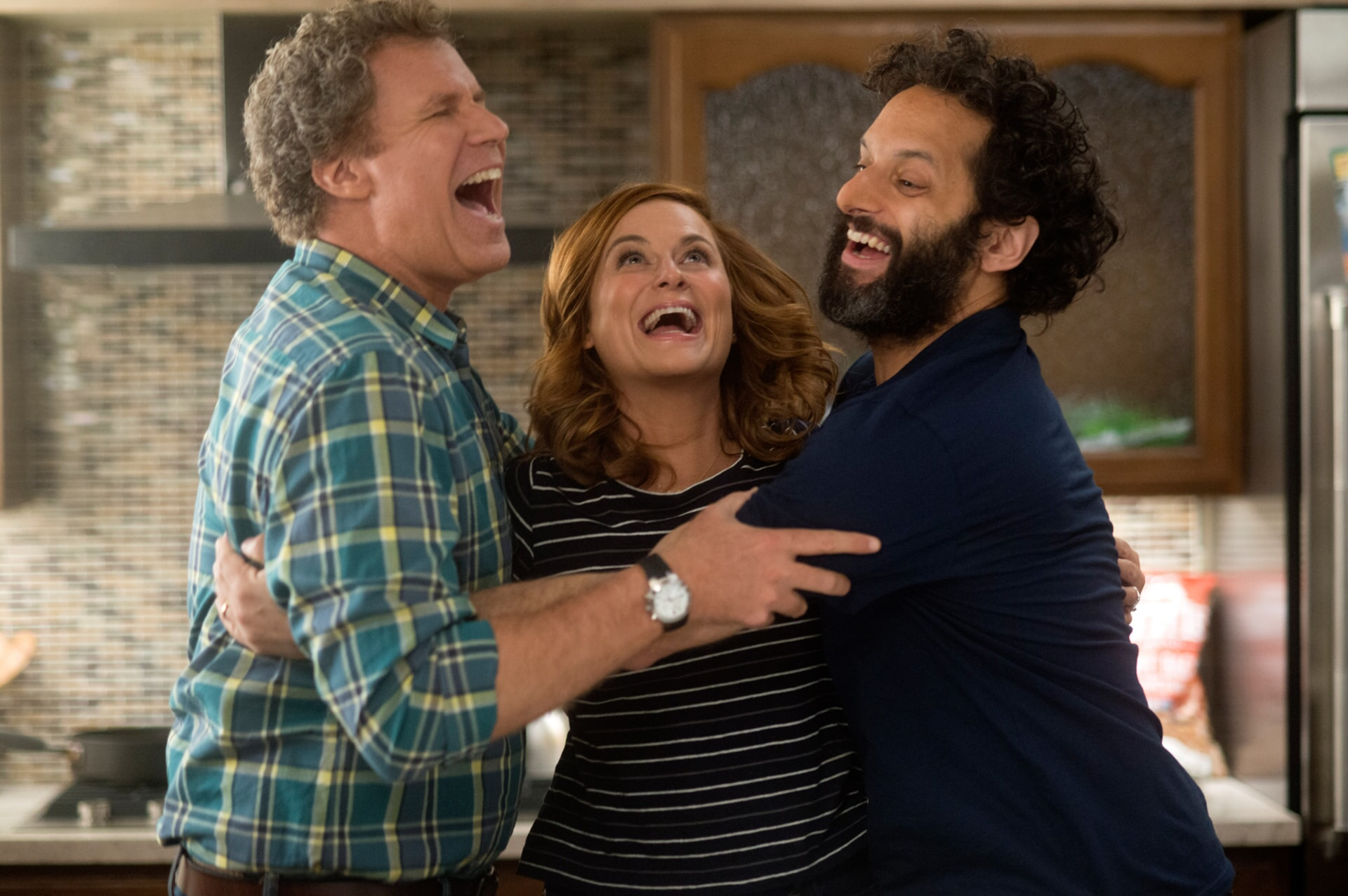 """WILL FERRELL as Scott Johansen, AMY POEHLER as Kate Johansen and JASON MANTZOUKAS as Frank in the New Line Cinema and Village Roadshow Pictures comedy """"THE HOUSE,"""" a Warner Bros. Pictures release."""