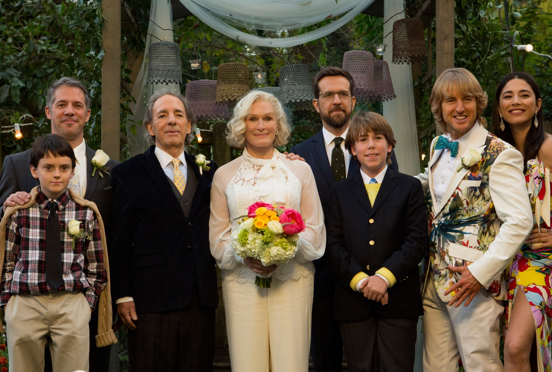 "HARRY SHEARER as Gene, GLENN CLOSE as Helen, ED HELMS as Peter Reynolds, ZACHARY HAVEN as Ethan, OWEN WILSON as Kyle Reynolds and JESSICA GOMES as Kaylani in Alcon Entertainment's comedy ""FATHER FIGURES,"" a Warner Bros. Pictures release."