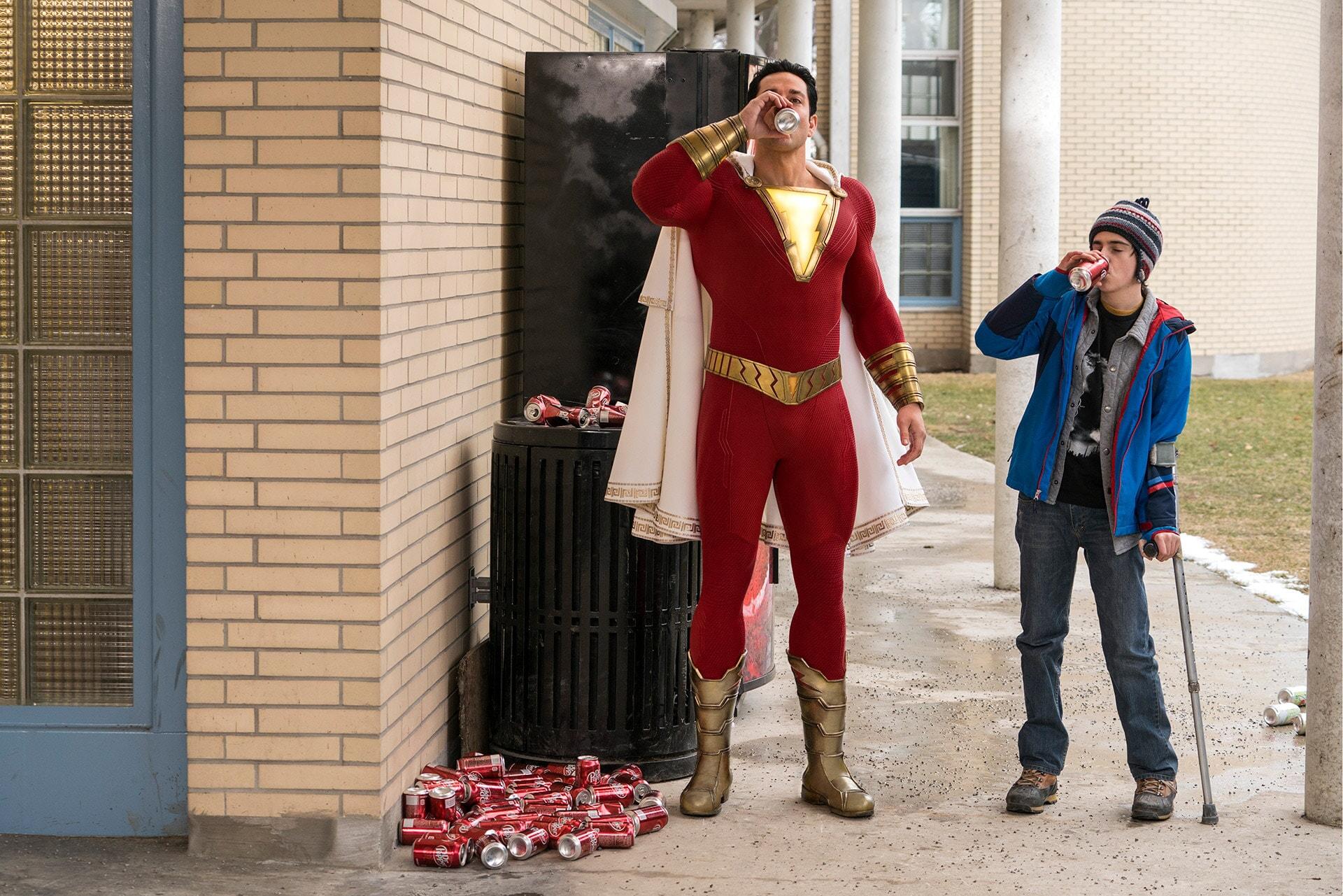 (L-r) ZACHARY LEVI as Shazam and JACK DYLAN GRAZER as Freddy Freeman