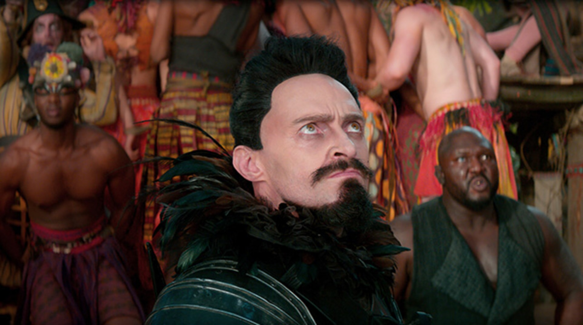 "HUGH JACKMAN as Blackbeard and NONSO ANOZIE as Bishop in Warner Bros. Pictures' and RatPac-Dune Entertainment's action adventure ""PAN,"" a Warner Bros. Pictures release."