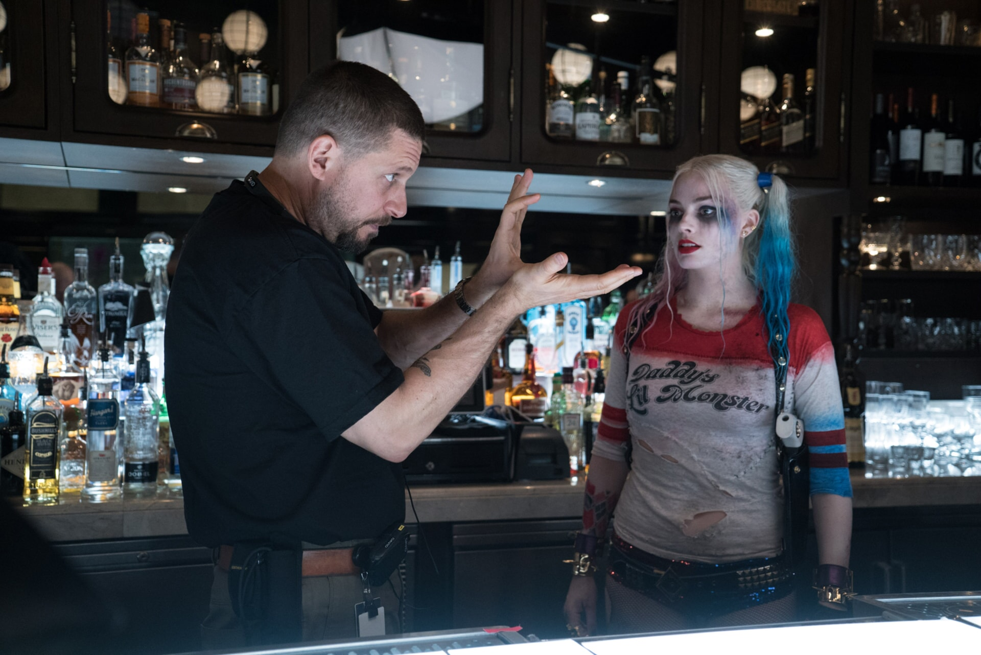"""Writer/director DAVID AYER and MARGOT ROBBIE on the set of Warner Bros. Pictures' action adventure """"SUICIDE SQUAD"""""""