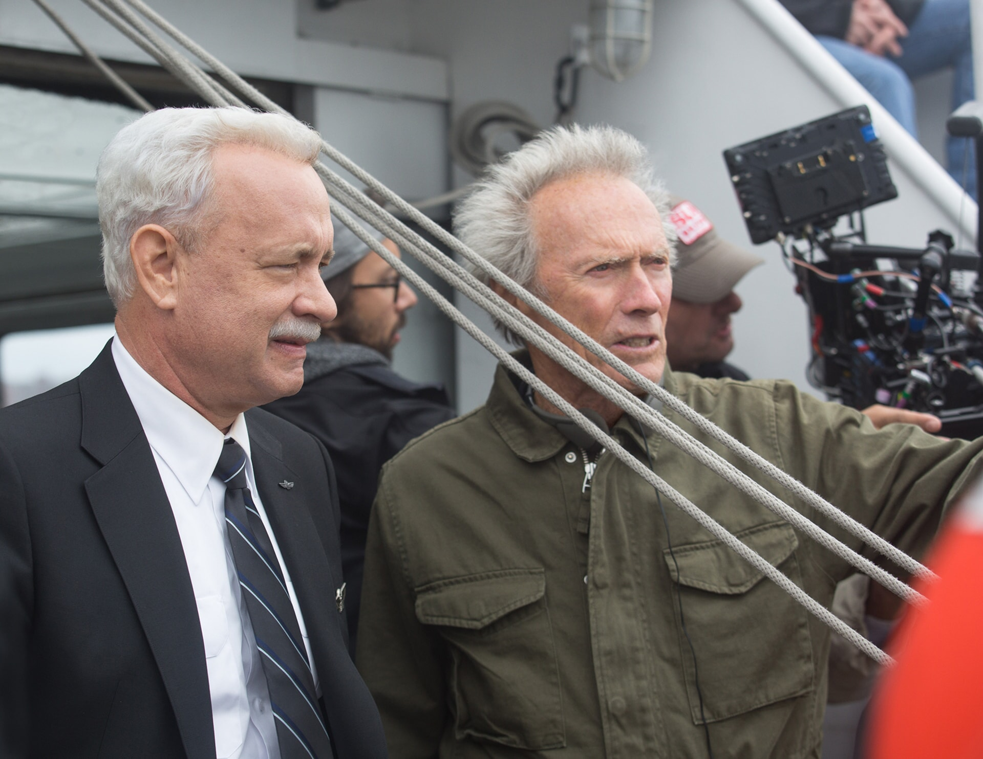 """TOM HANKS with director/producer CLINT EASTWOOD on the set of the upcoming film """"SULLY"""""""