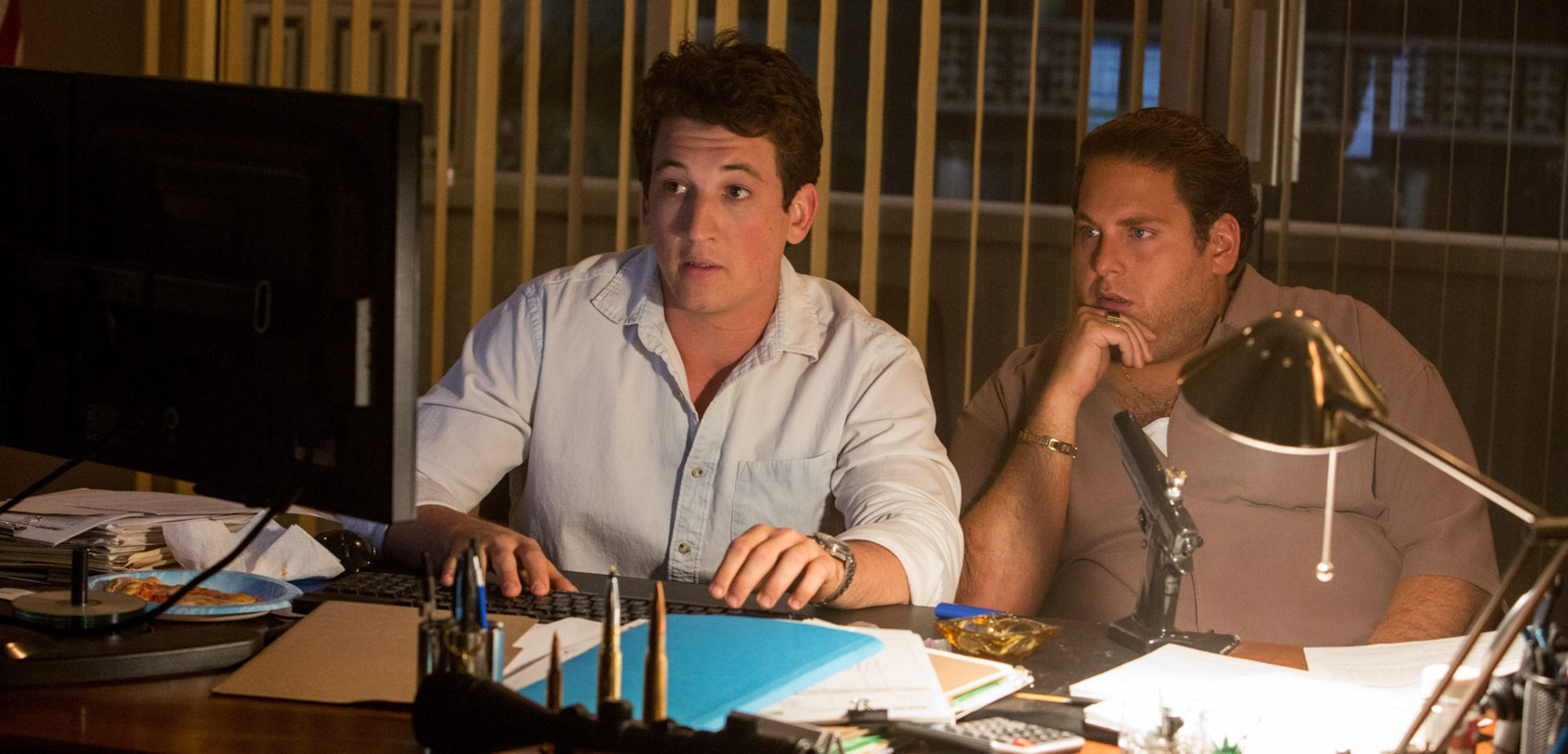 """MILES TELLER as David and JONAH HILL as Efraim in Warner Bros. Pictures' comedic drama (based on true events) """"WAR DOGS,"""" a Warner Bros. Pictures release."""