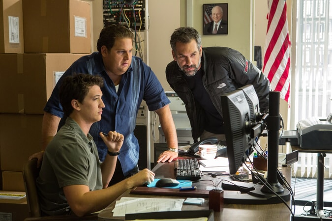 "MILES TELLER, JONAH HILL and director/writer/producer TODD PHILLIPS on the set of Warner Bros. Pictures' comedic drama (based on true events) ""WAR DOGS,"" a Warner Bros. Pictures release."