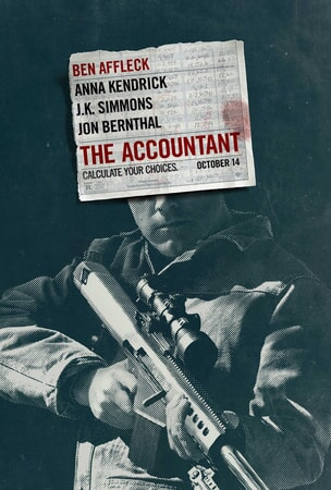 The Accountant logo covering Ben Affleck's face holding rifle